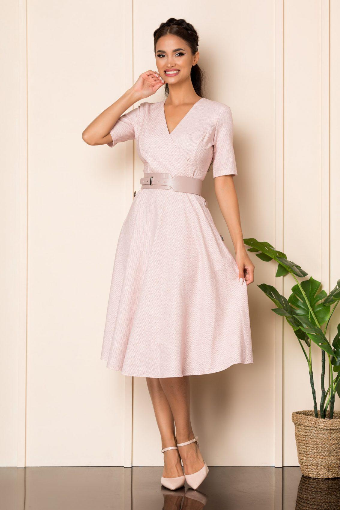 Ροζ Μίντι Κρουαζέ Κλος Φόρεμα Sara A826 1
