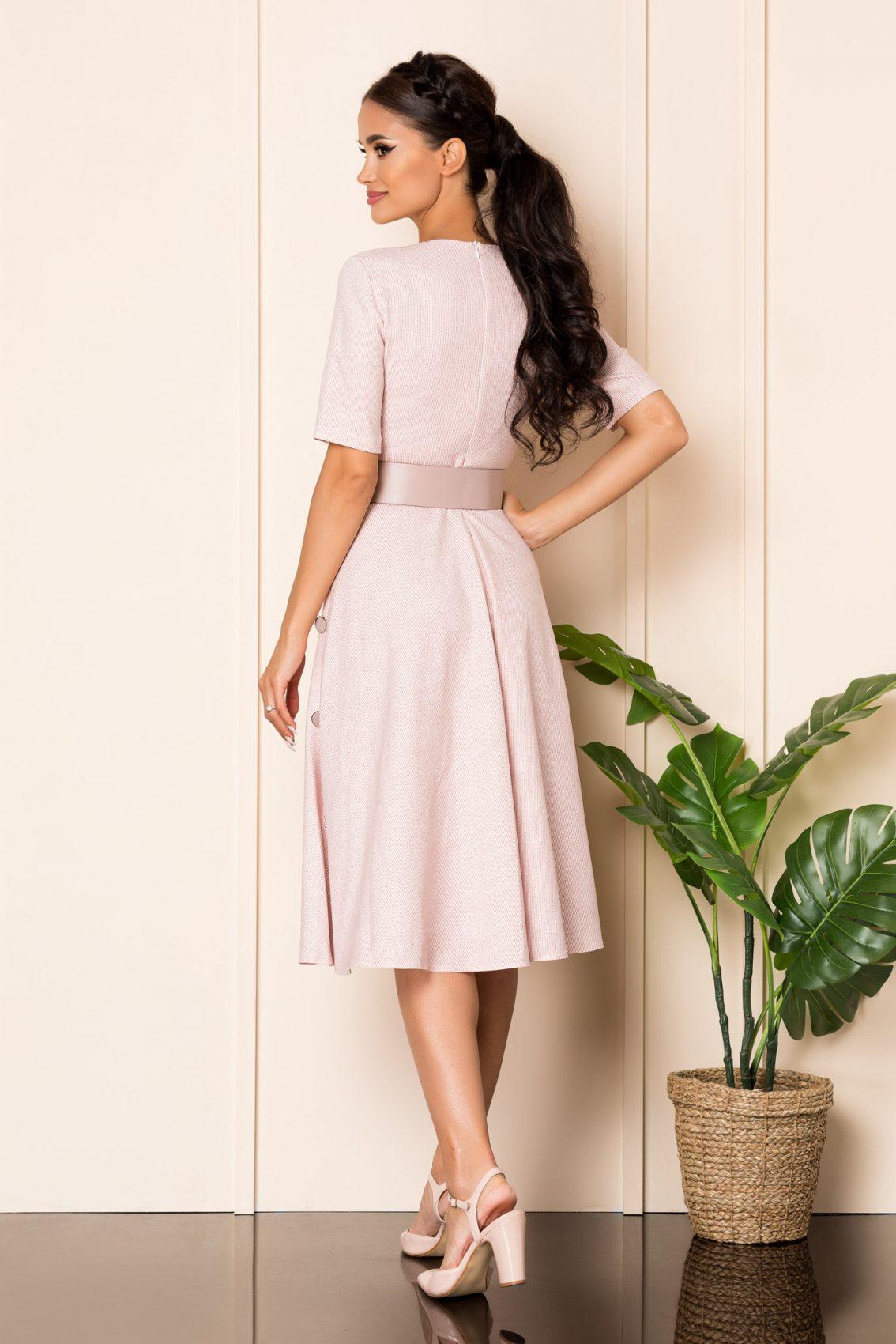 Ροζ Μίντι Κρουαζέ Κλος Φόρεμα Sara A826 2