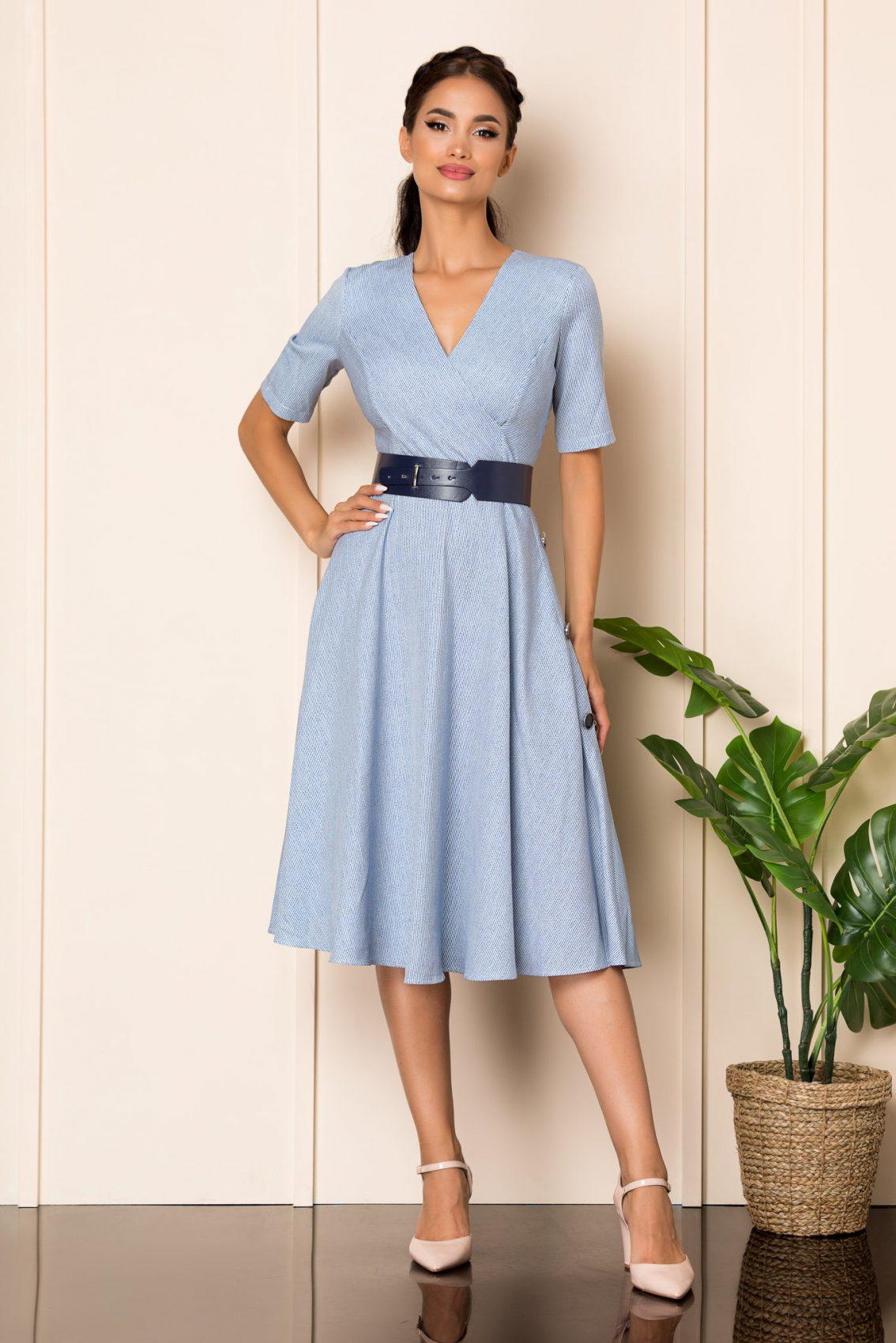 Μπλε Μίντι Κρουαζέ Κλος Φόρεμα Sara A828 1