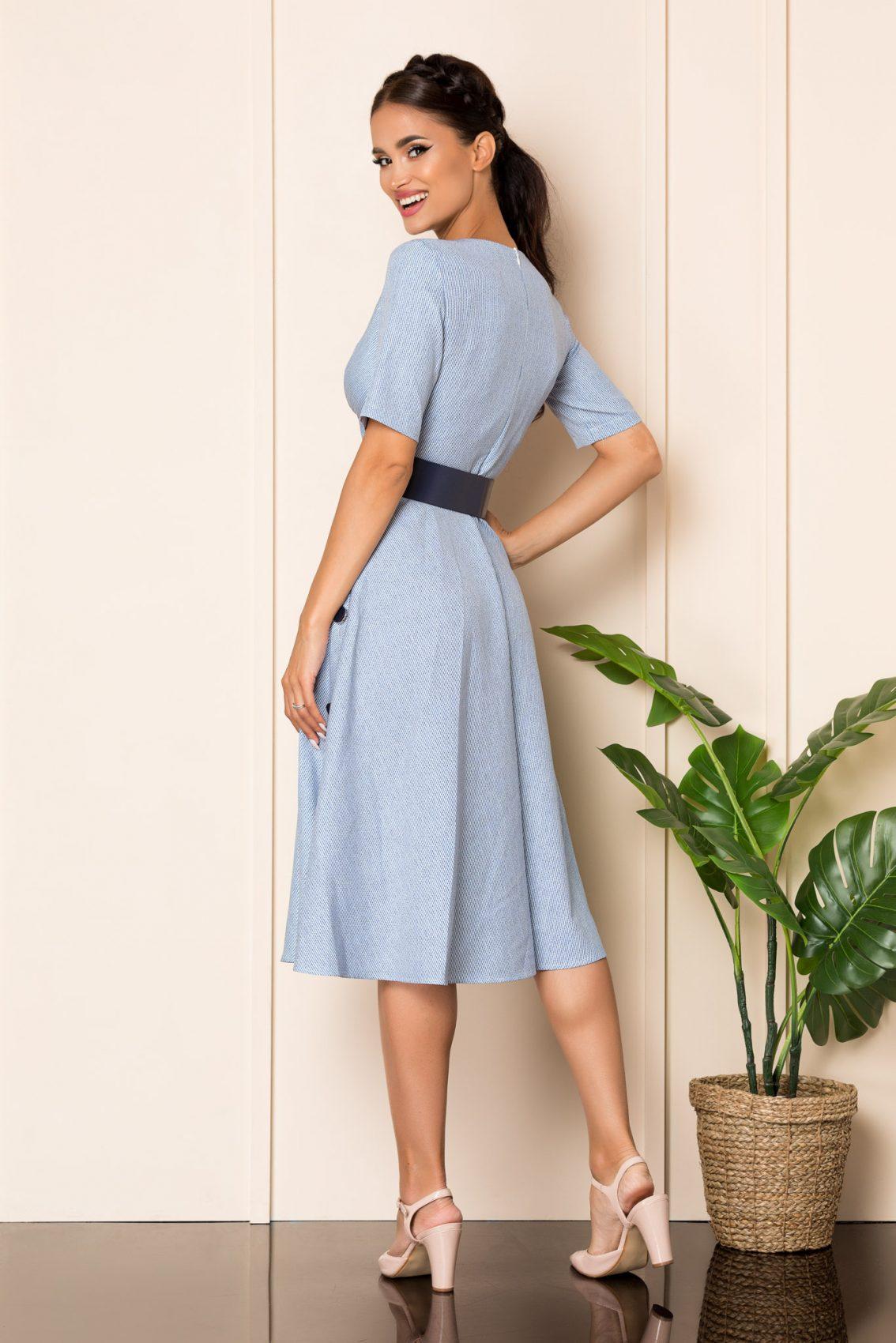 Μπλε Μίντι Κρουαζέ Κλος Φόρεμα Sara A828 2