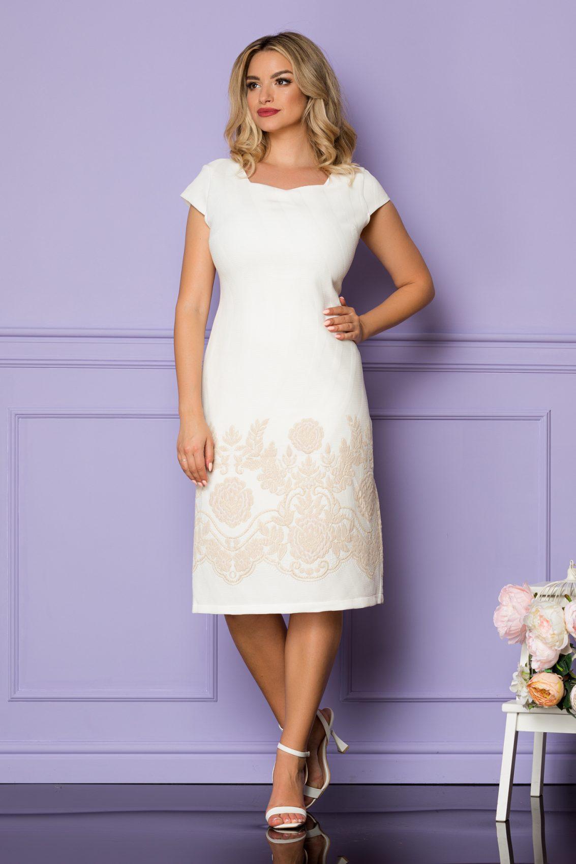 Ιβουάρ Μίντι Φόρεμα Με Μπεζ Λουλούδια Tarra A1113 1