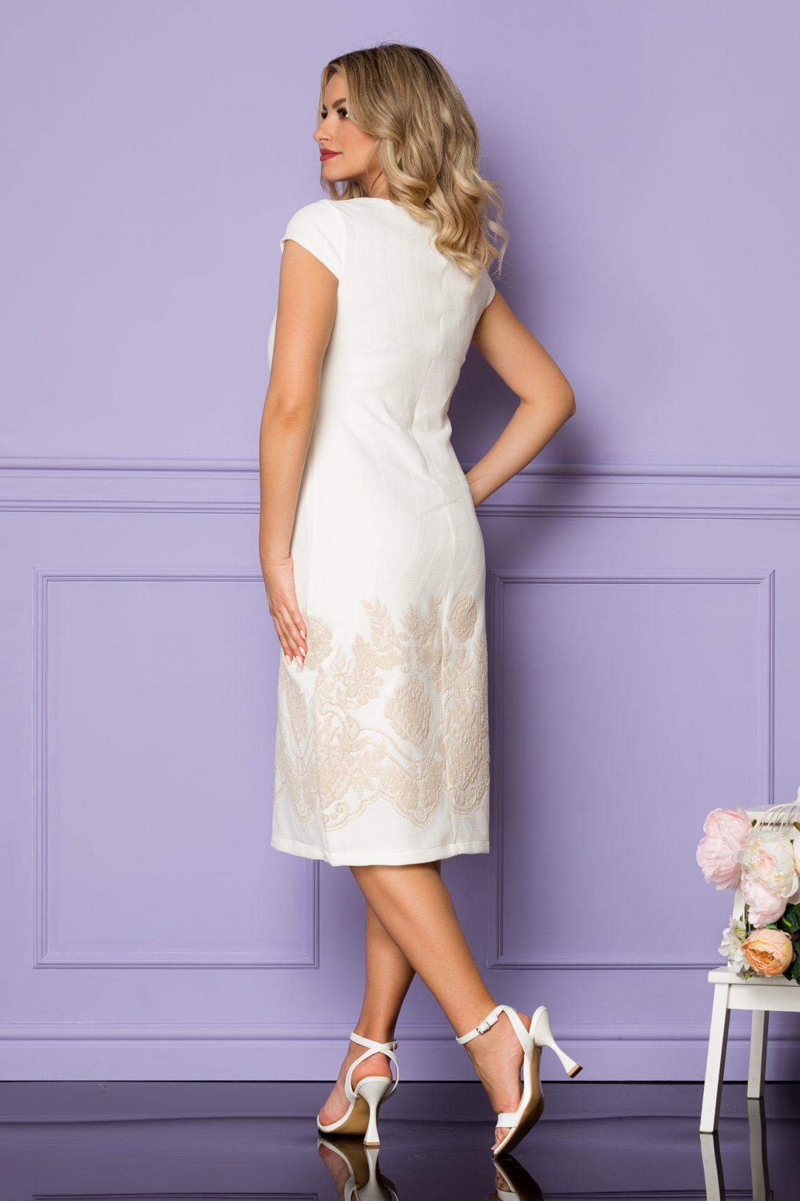 Ιβουάρ Μίντι Φόρεμα Με Μπεζ Λουλούδια Tarra A1113 2