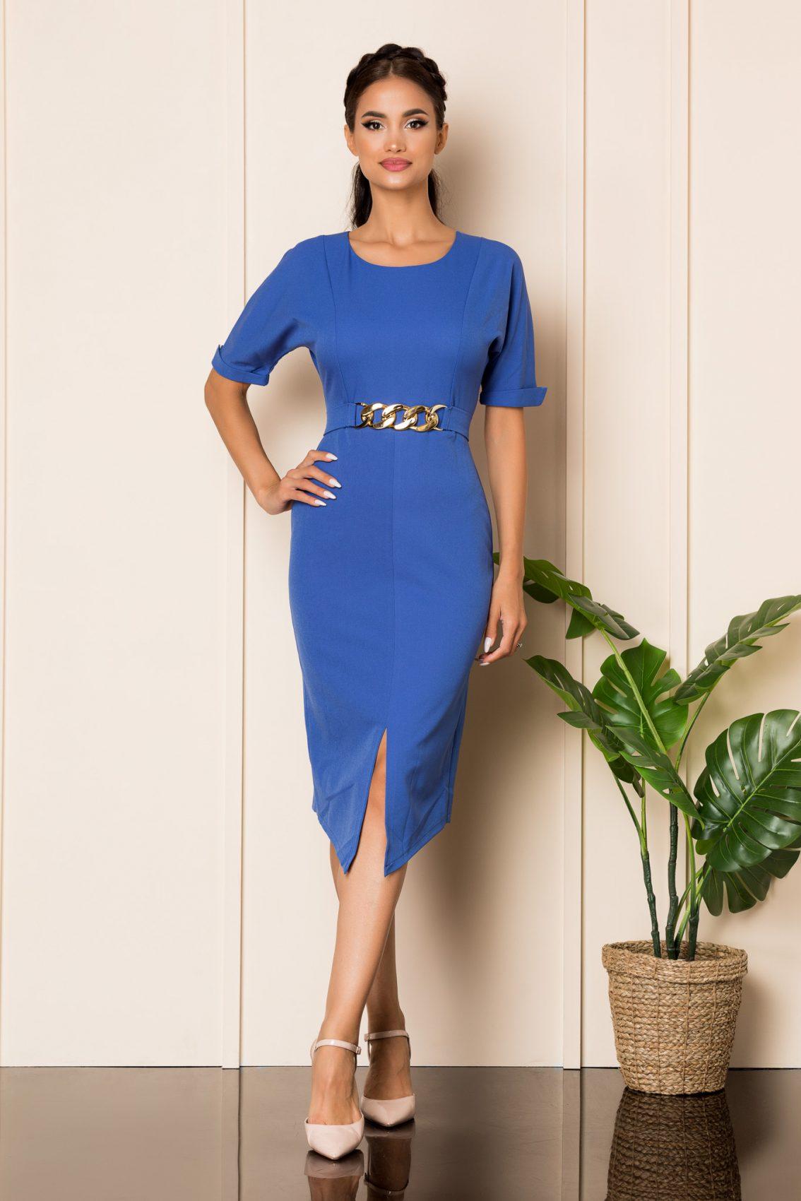 Μπλε Κοντομάνικο Μίντι Φόρεμα Meghan A873 1