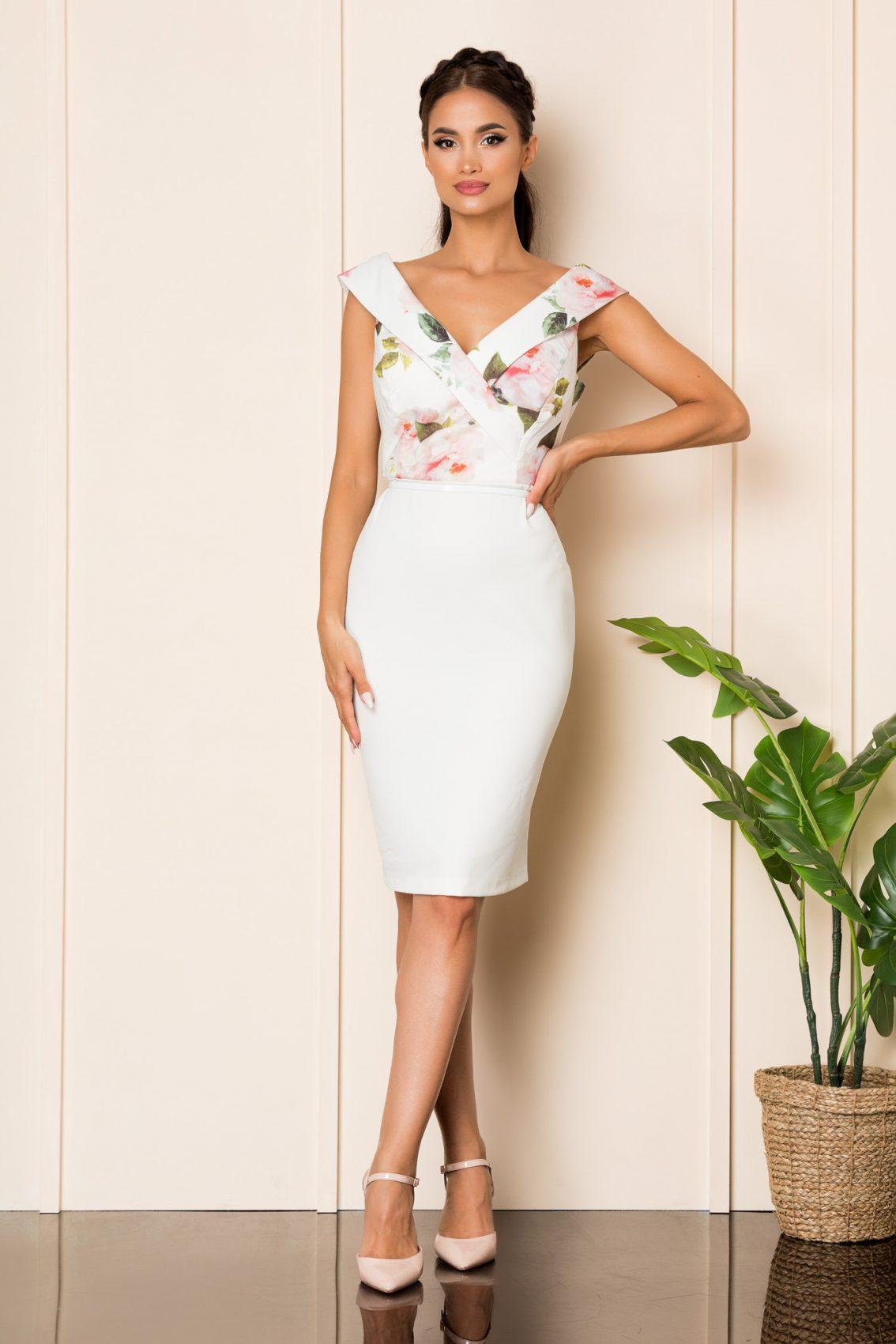 Λευκό Φόρεμα Με Ροζ Λουλούδια Carlia A811 1