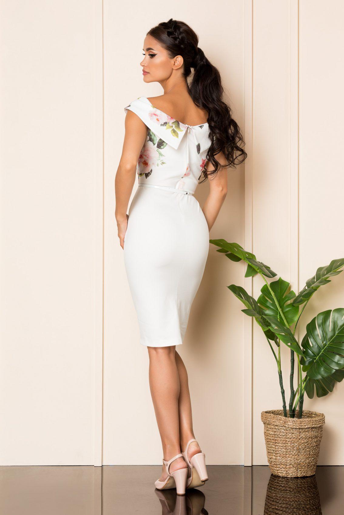 Λευκό Φόρεμα Με Ροζ Λουλούδια Carlia A811 2