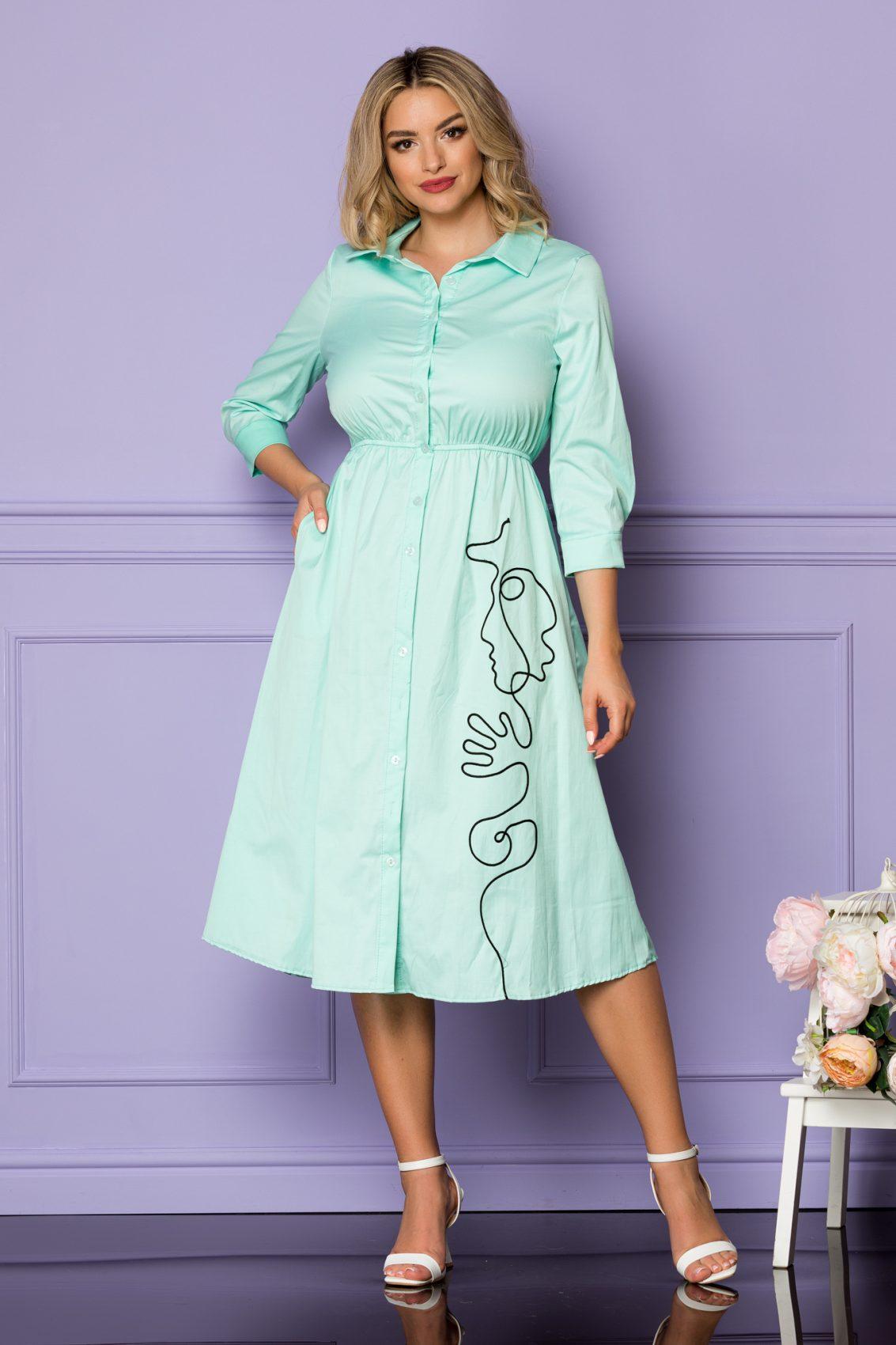 Μέντα Σεμιζιέ Φόρεμα Yarina A1095 1