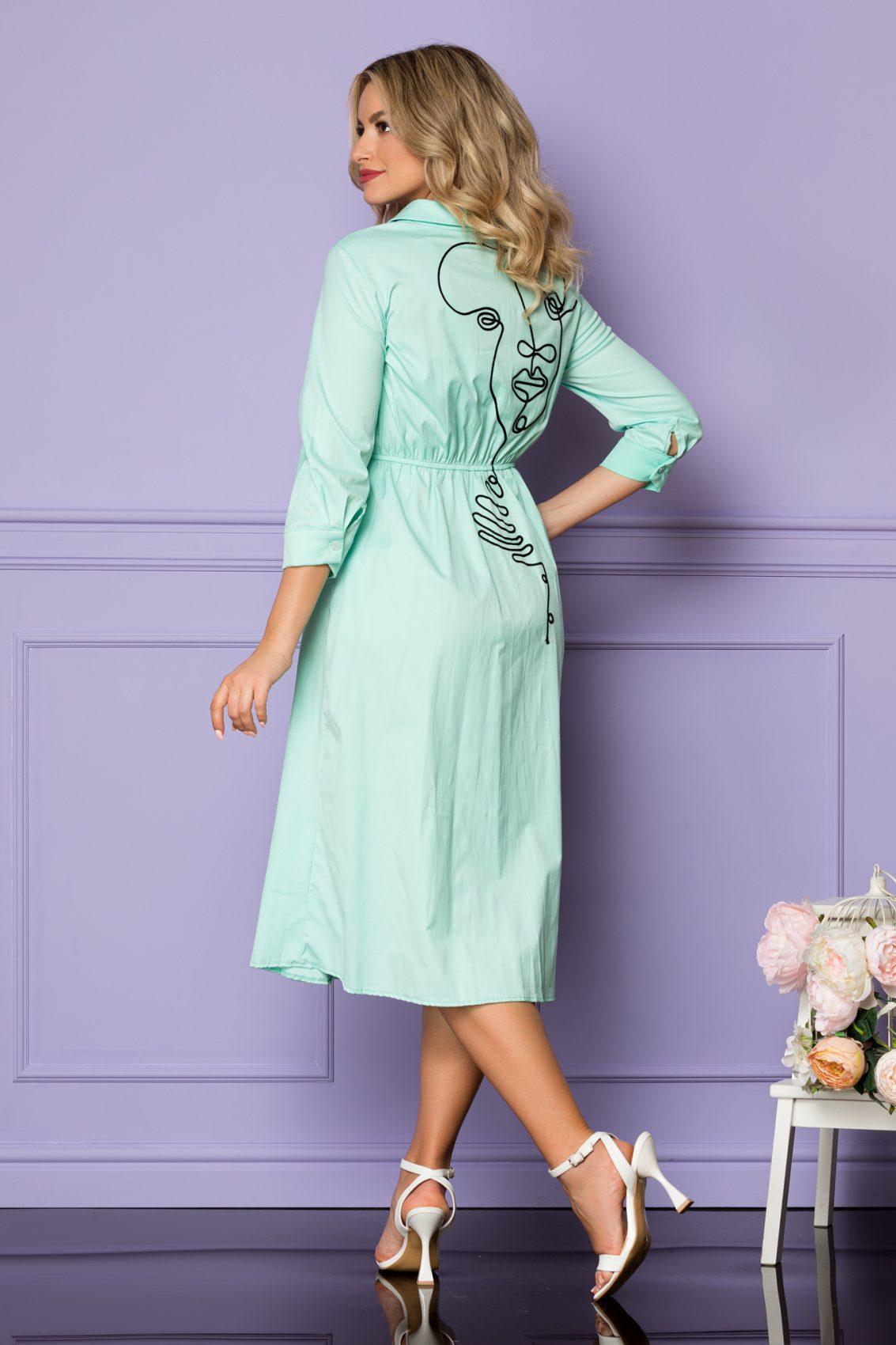 Μέντα Σεμιζιέ Φόρεμα Yarina A1095 2