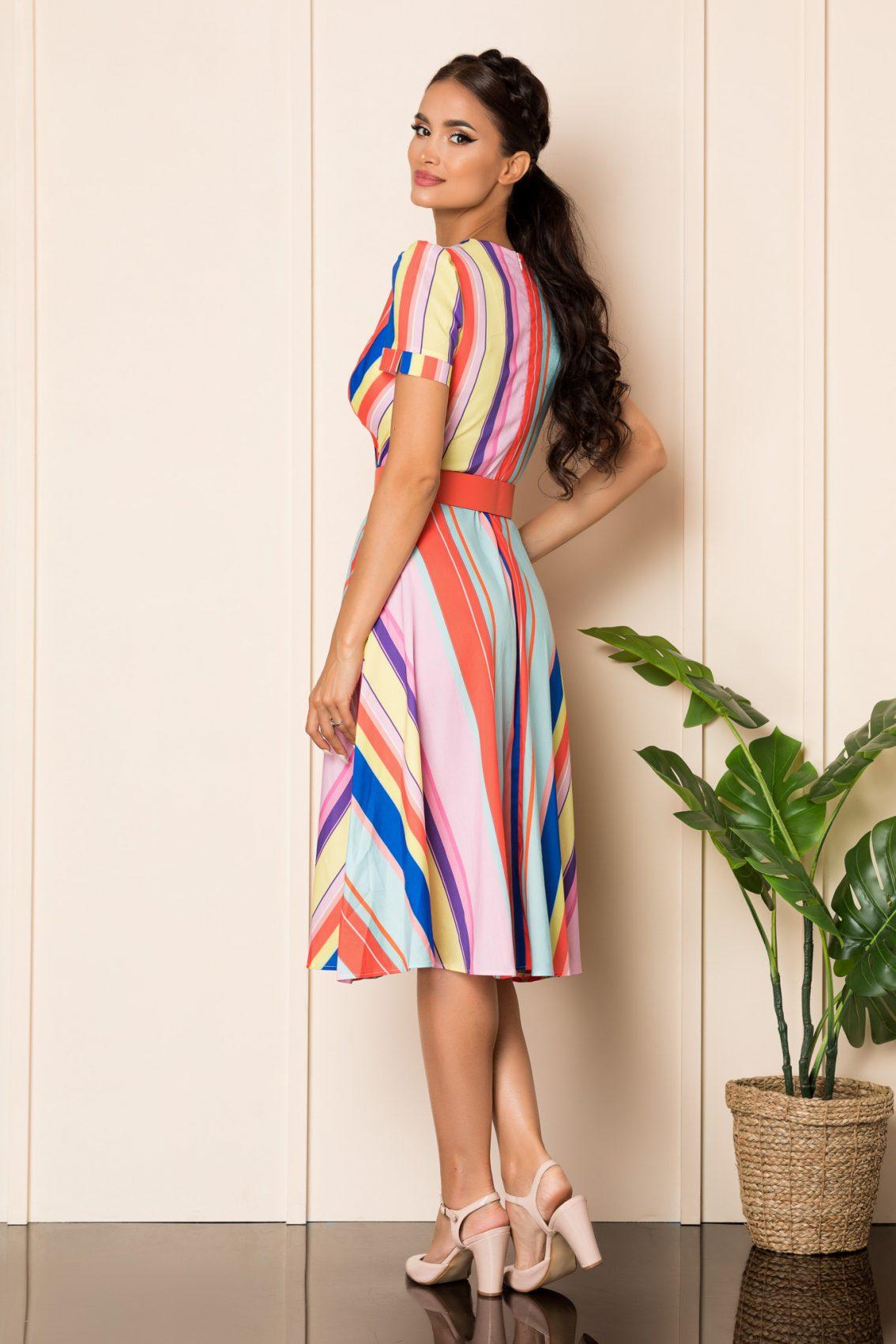 Μίντι Κρουαζέ Πολύχρωμο Φόρεμα Renee A881 2