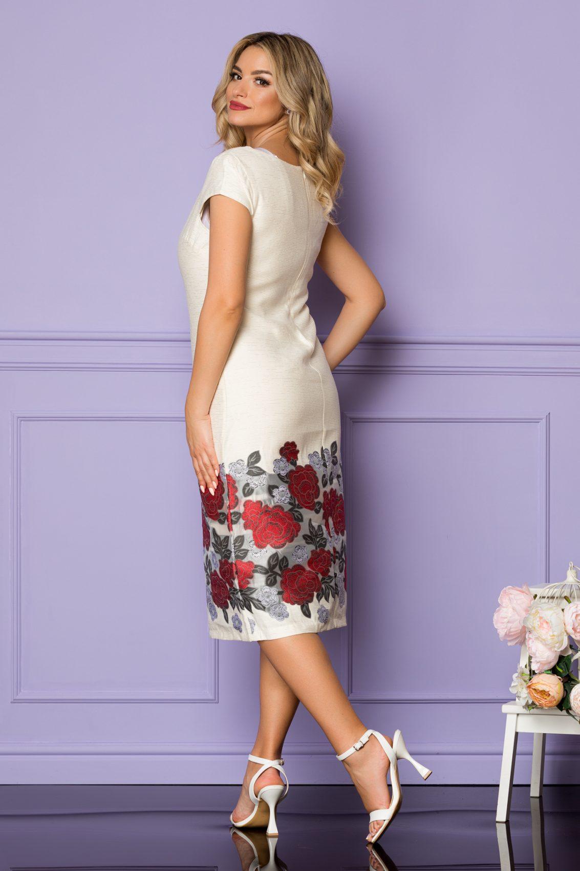 Ιβουάρ Μίντι Φόρεμα Με Κόκκινα Λουλούδια Tarra A1114 2