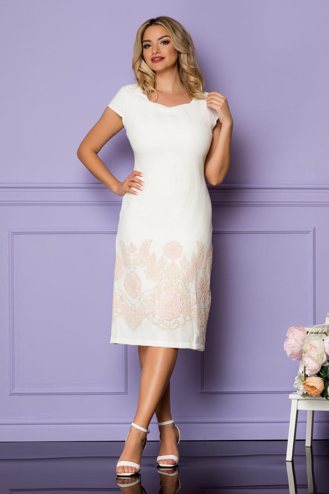 Ιβουάρ Μίντι Φόρεμα Με Ροζ Λουλούδια Tarra A1112 1
