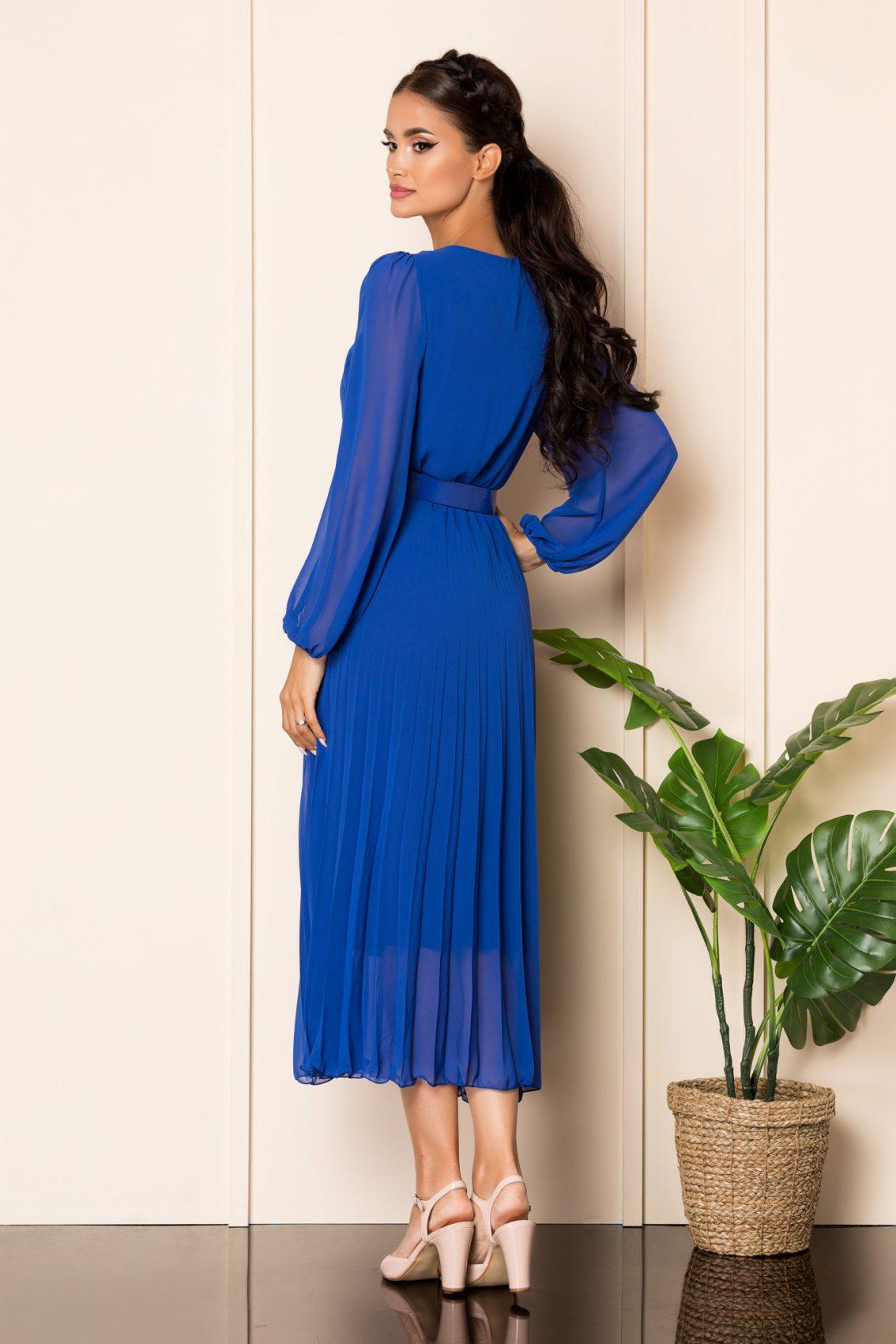 Μπλε Μίντι Πλισέ Φόρεμα Ingrid A892 2