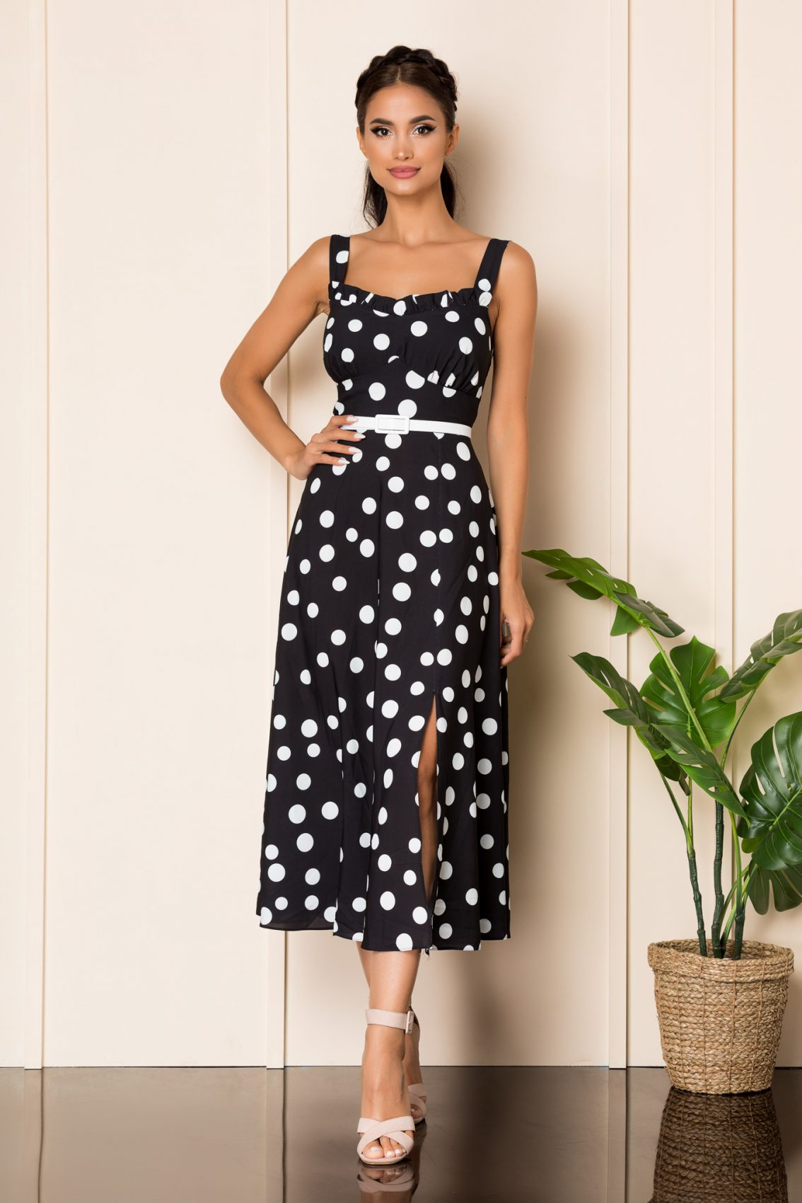 Μαύρο Πουά Μίντι Φόρεμα Με Τιράντες Oksana A834 1