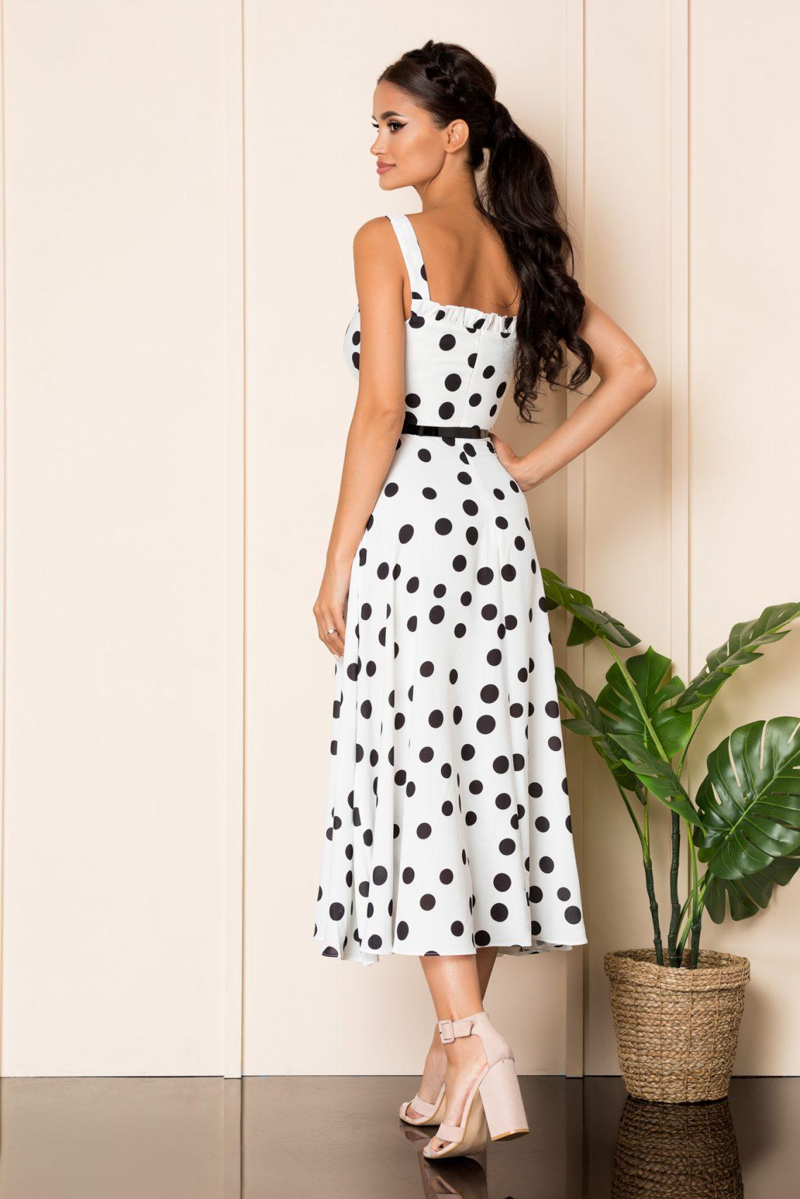 Λευκό Πουά Μίντι Φόρεμα Με Τιράντες Oksana A853 2