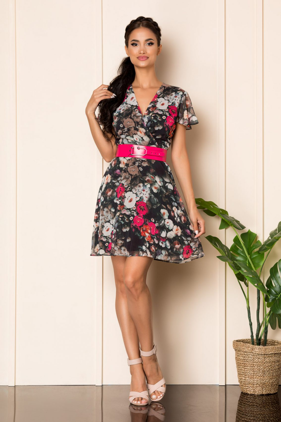 Μαύρο Φλοράλ Κοντομάνικο Φόρεμα Lorra A882 1