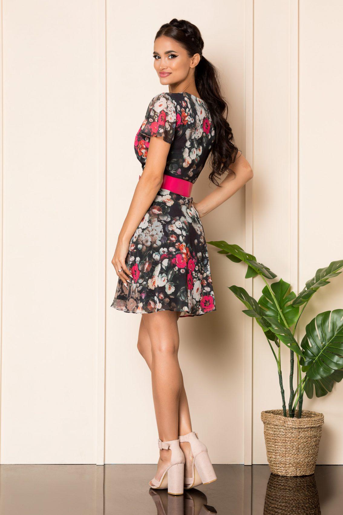 Μαύρο Φλοράλ Κοντομάνικο Φόρεμα Lorra A882 2
