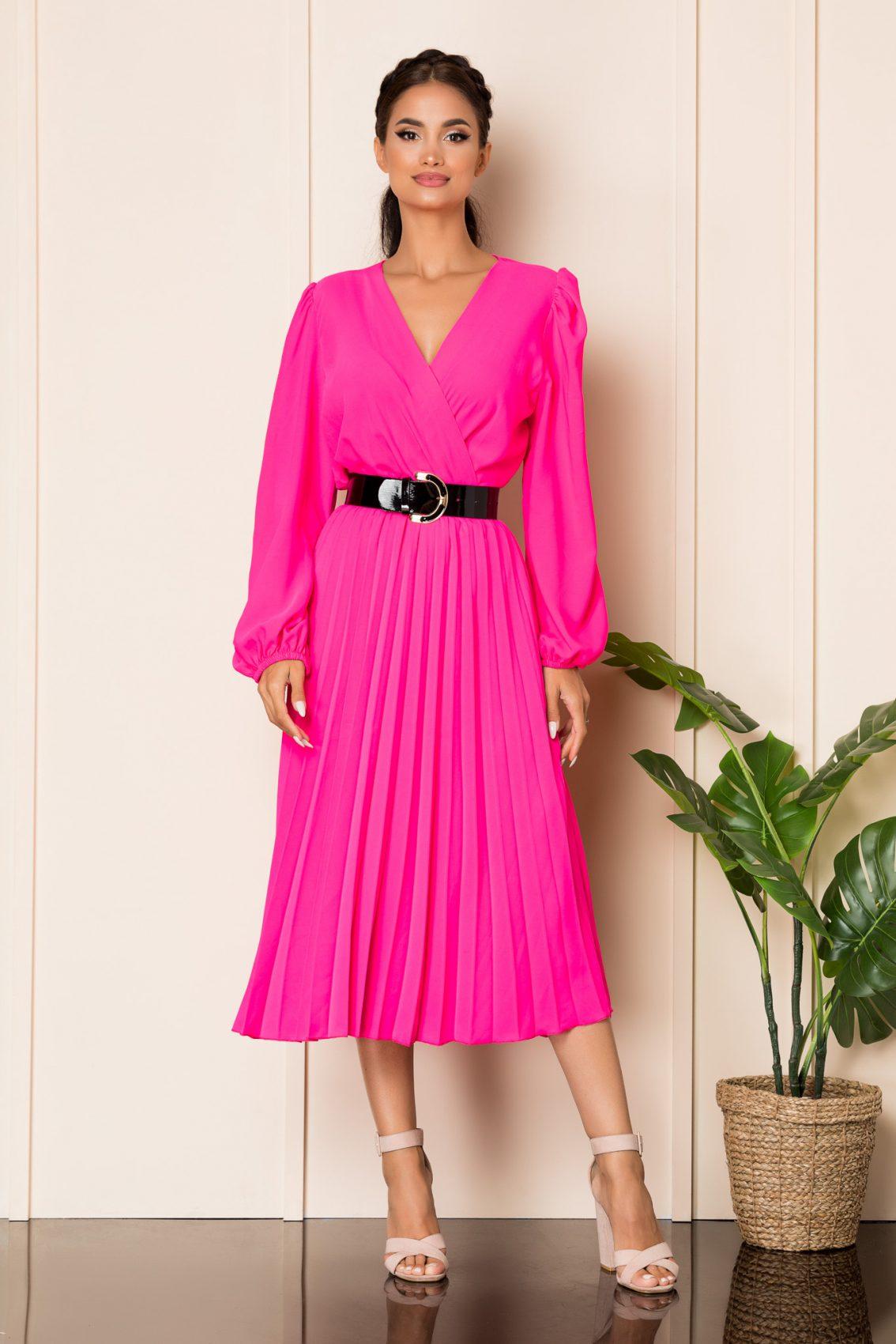 Φούξια Μίντι Πλισέ Φόρεμα Malina A859 1