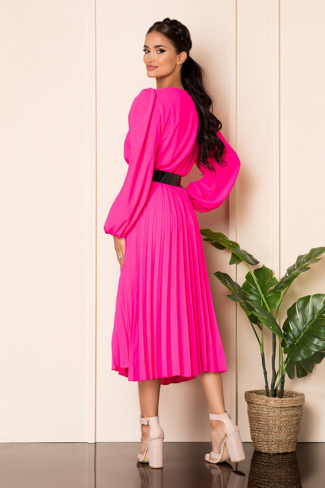 Φούξια Μίντι Πλισέ Φόρεμα Malina A859 2