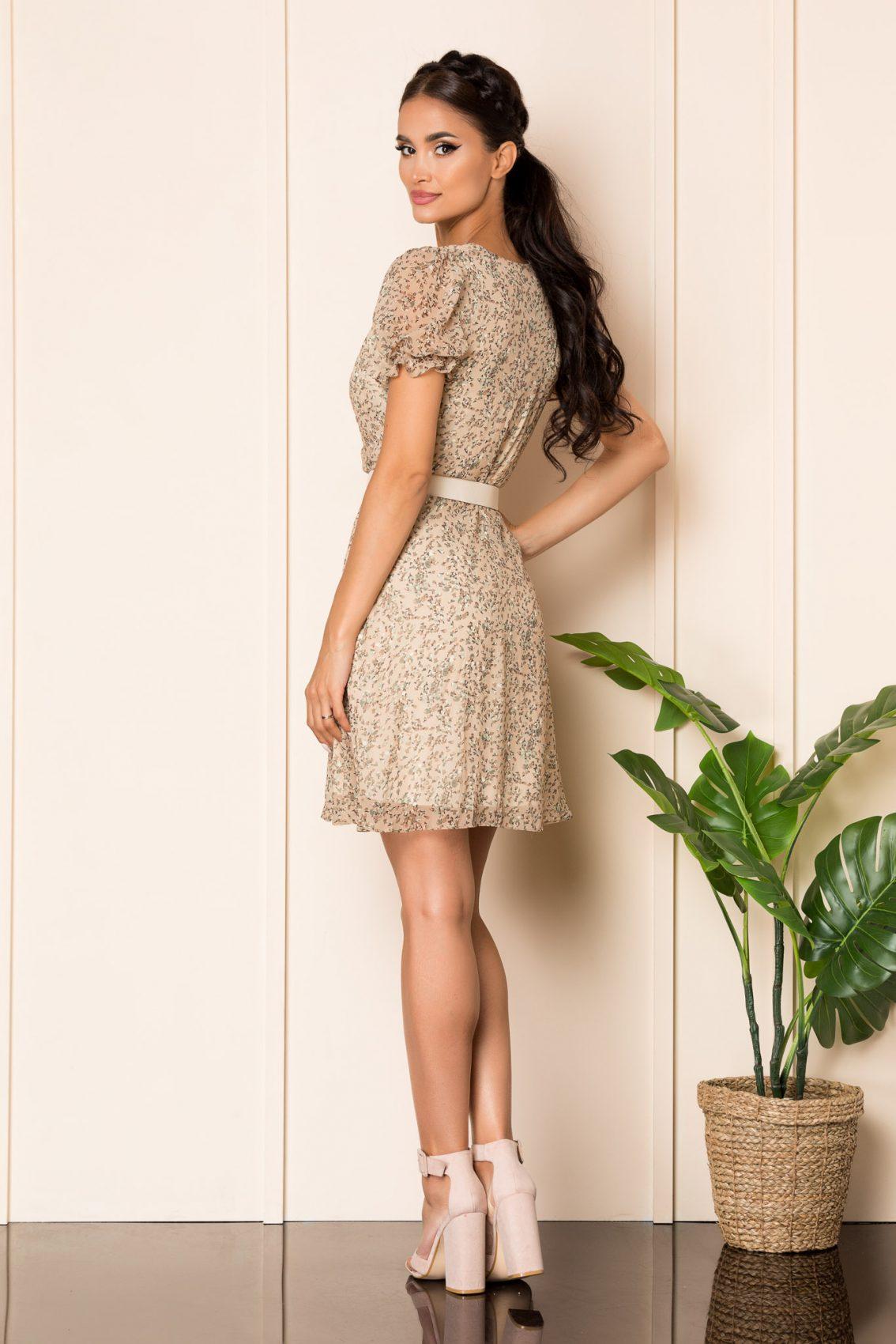Εμπριμέ Nude Κρουαζέ Φόρεμα Karen A857 2