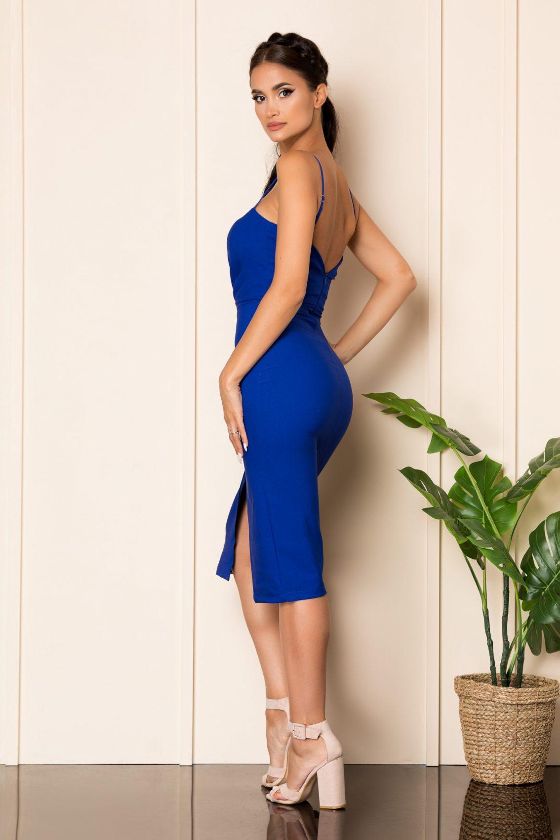 Μπλε Φόρεμα Μίντι Adine 7963 2