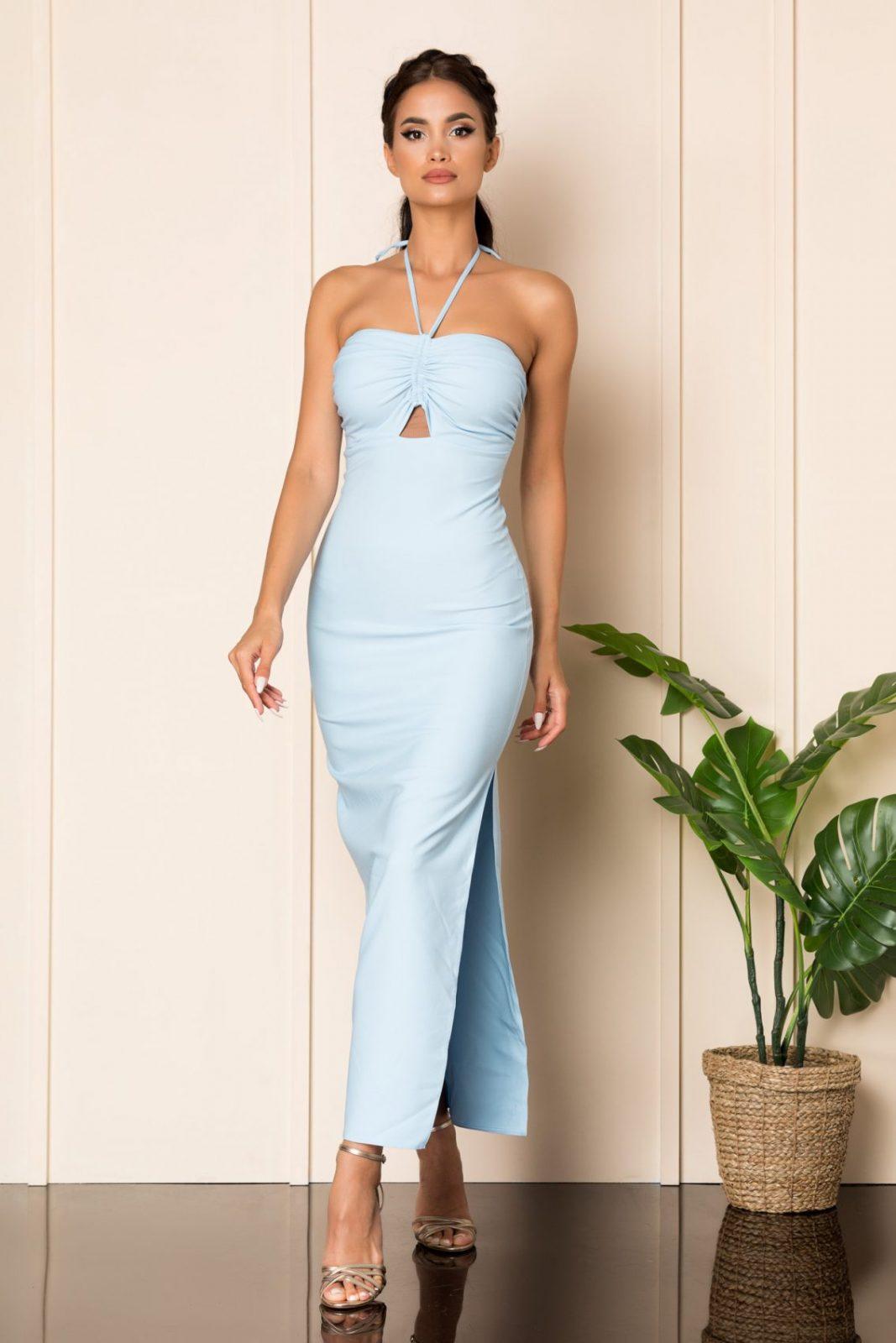 Γαλάζιο Μάξι Φόρεμα Jade A842 1