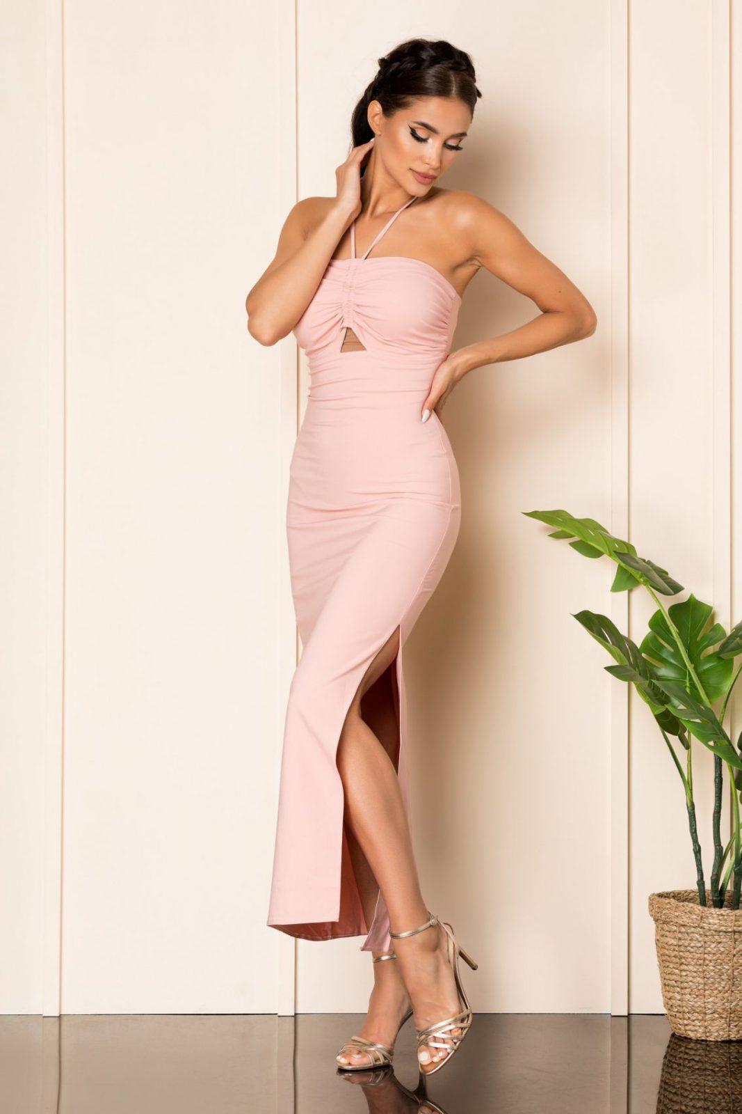 Ροζ Μάξι Φόρεμα Jade A844 1