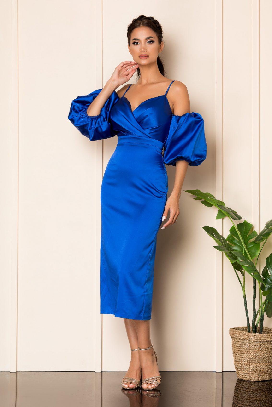 Μπλε Ρουά Σατέν Αμπιγιέ Φόρεμα Destiny A854 1