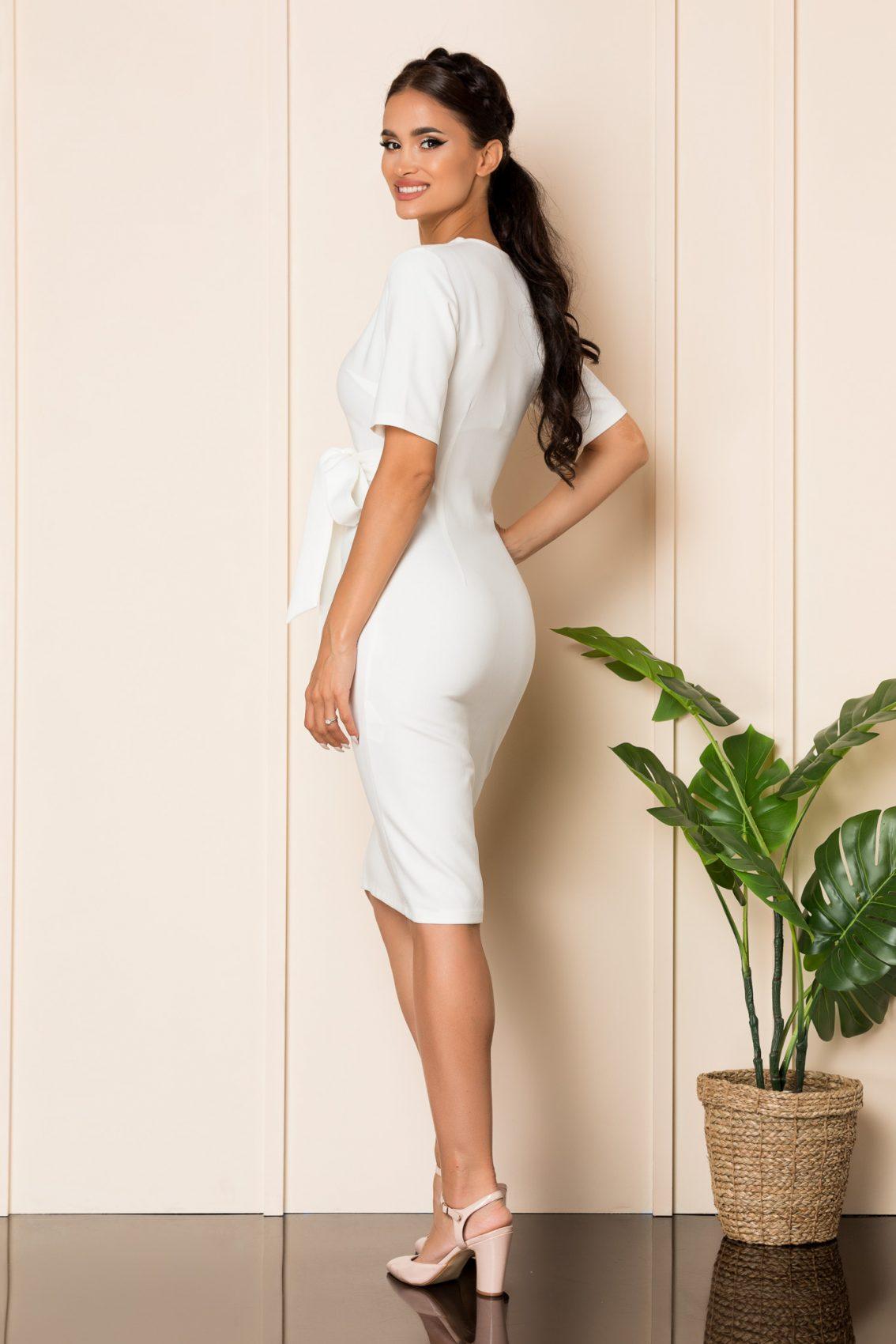 Λευκό Μίντι Φόρεμα Με Φιόγκο Savia A868 2
