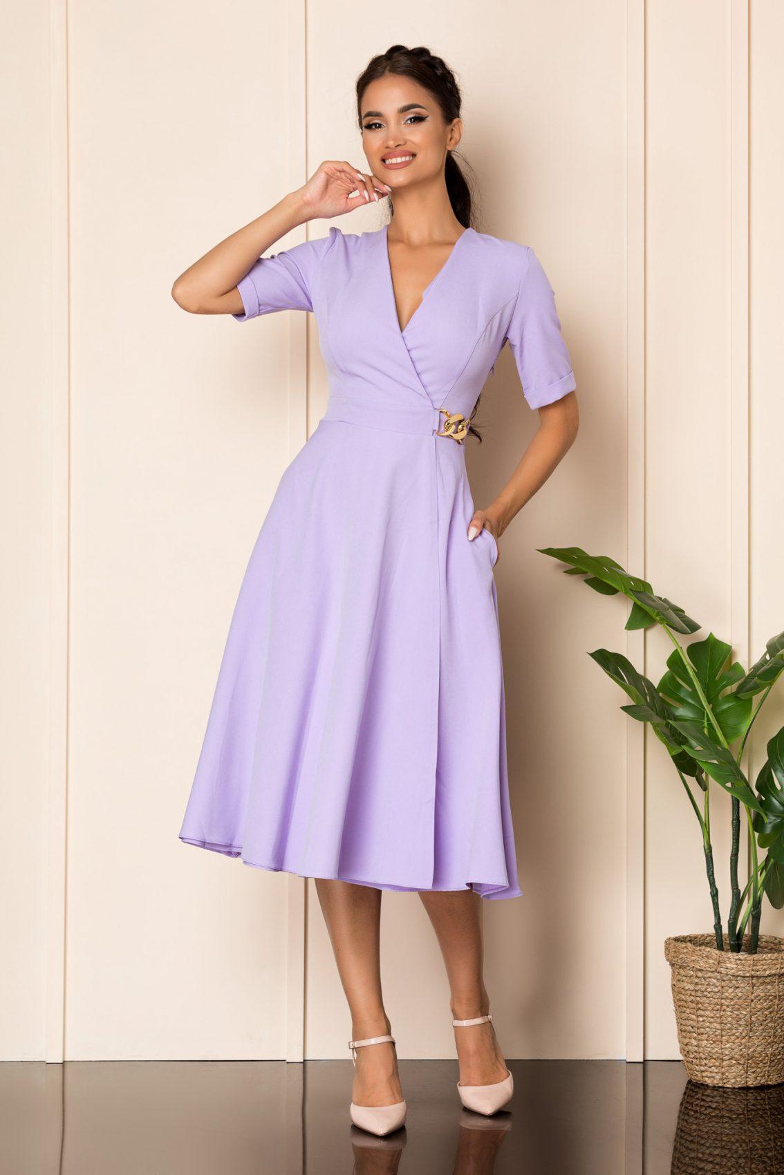 Λιλά Μίντι Κοντομάνικο Φόρεμα Jillian A830 1