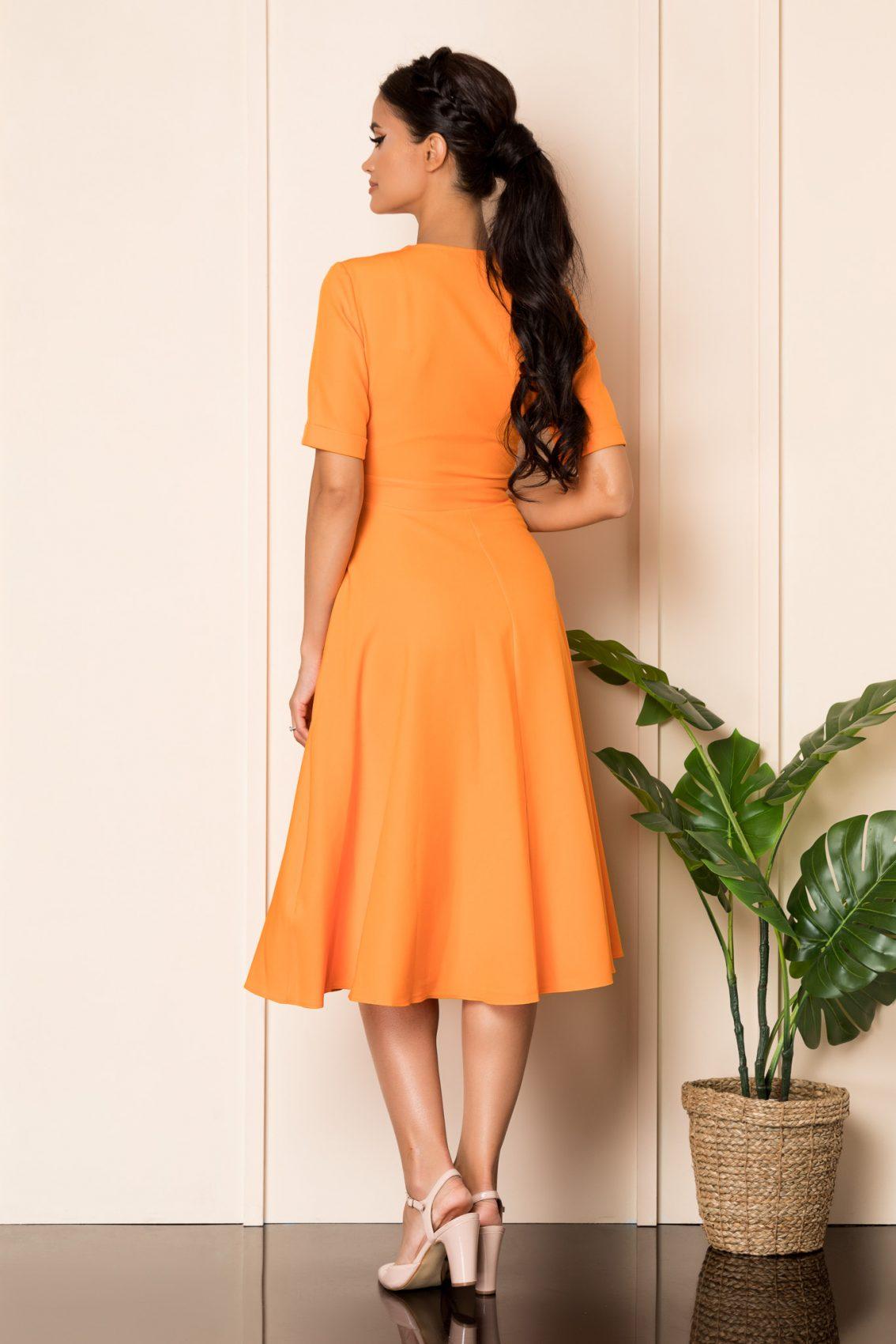 Πορτοκαλί Μίντι Κοντομάνικο Φόρεμα Jillian A831 2