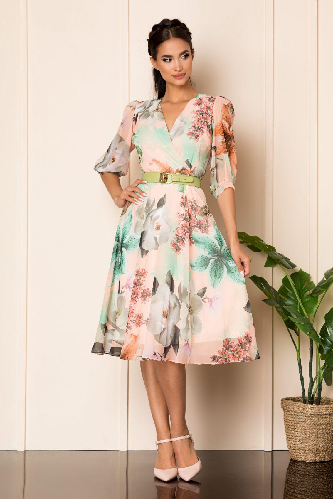 Ροδακινί Μίντι Εμπριμέ Φόρεμα Με Ζώνη Ynesa A797 1