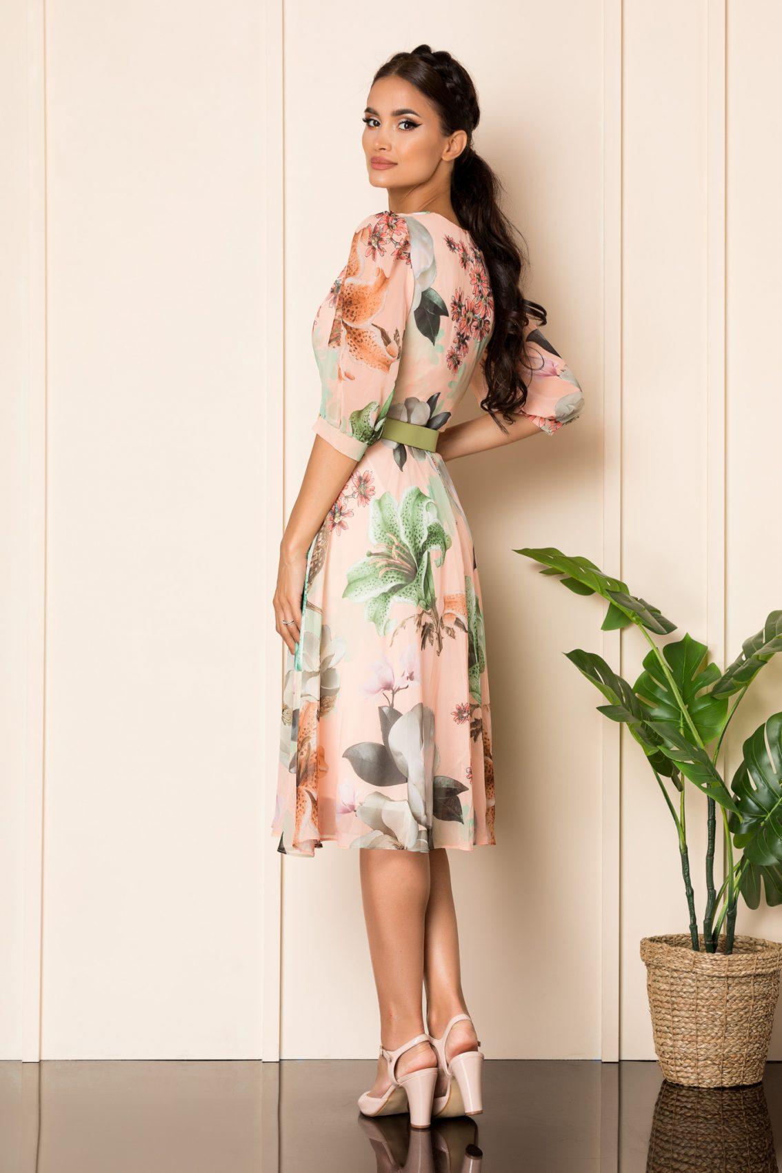 Ροδακινί Μίντι Εμπριμέ Φόρεμα Με Ζώνη Ynesa A797 2