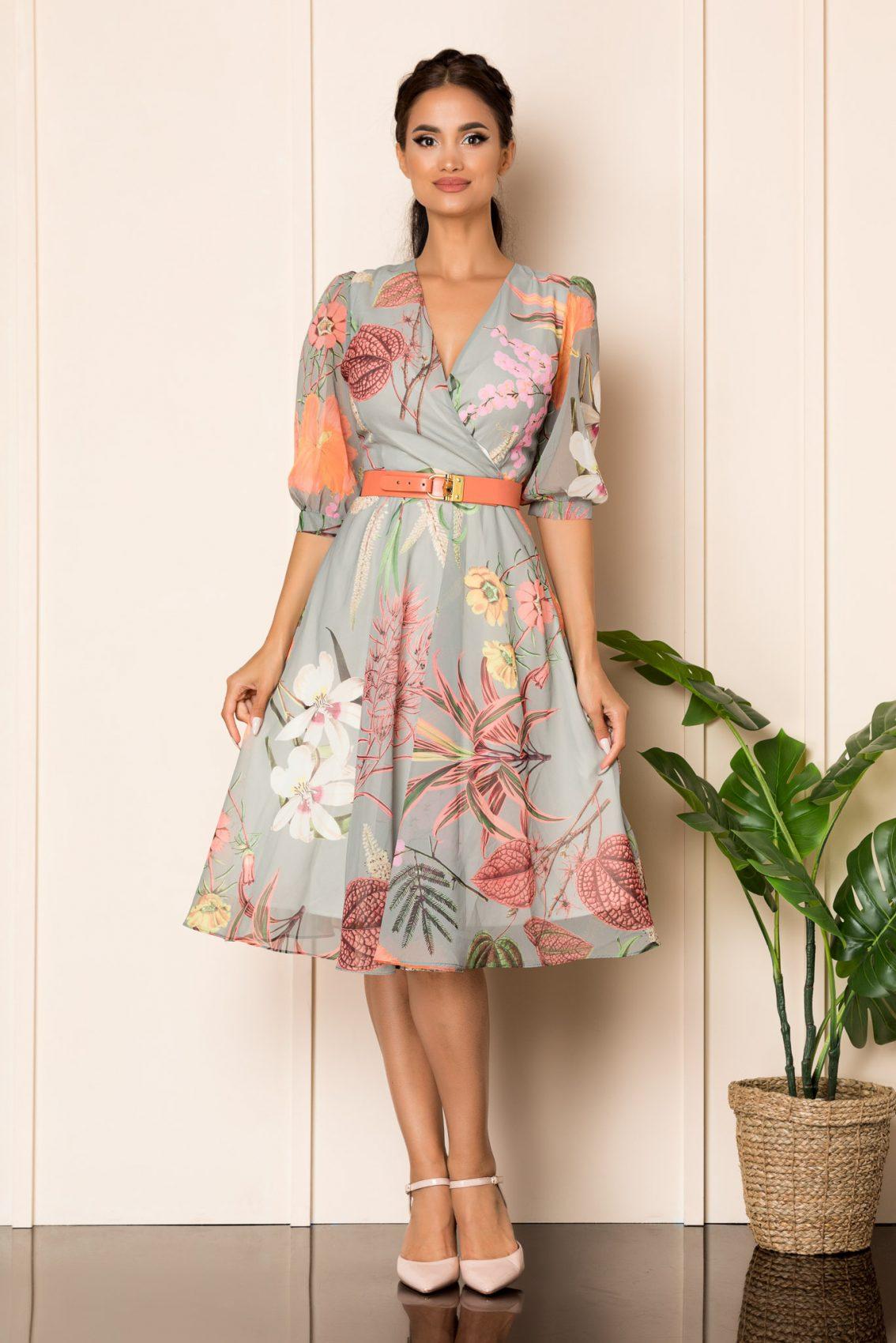 Γκρι Μίντι Εμπριμέ Φόρεμα Με Ζώνη Ynesa A798 1