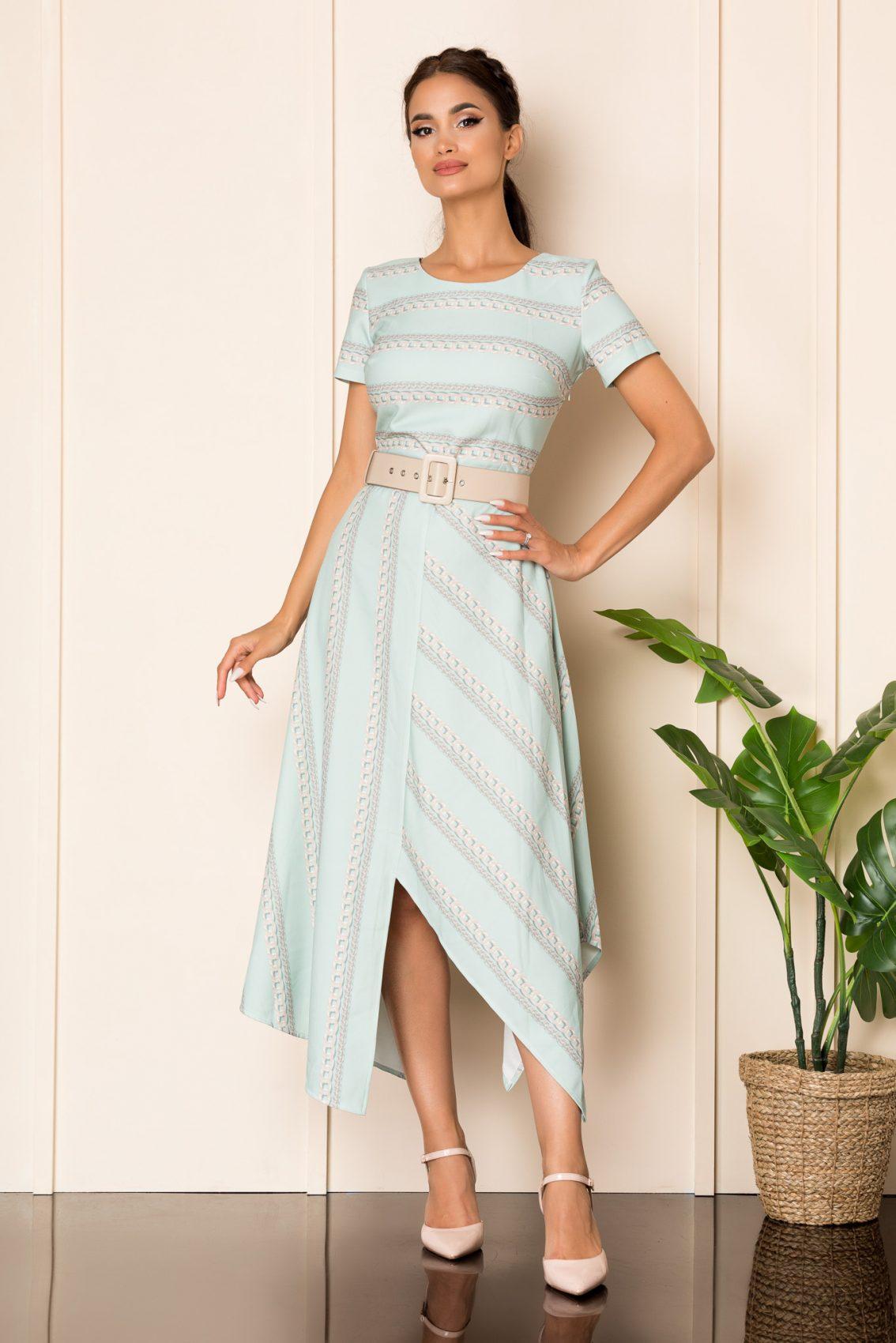 Μέντα Μίντι Ασύμμετρο Φόρεμα Με Ζώνη Paige A816 1