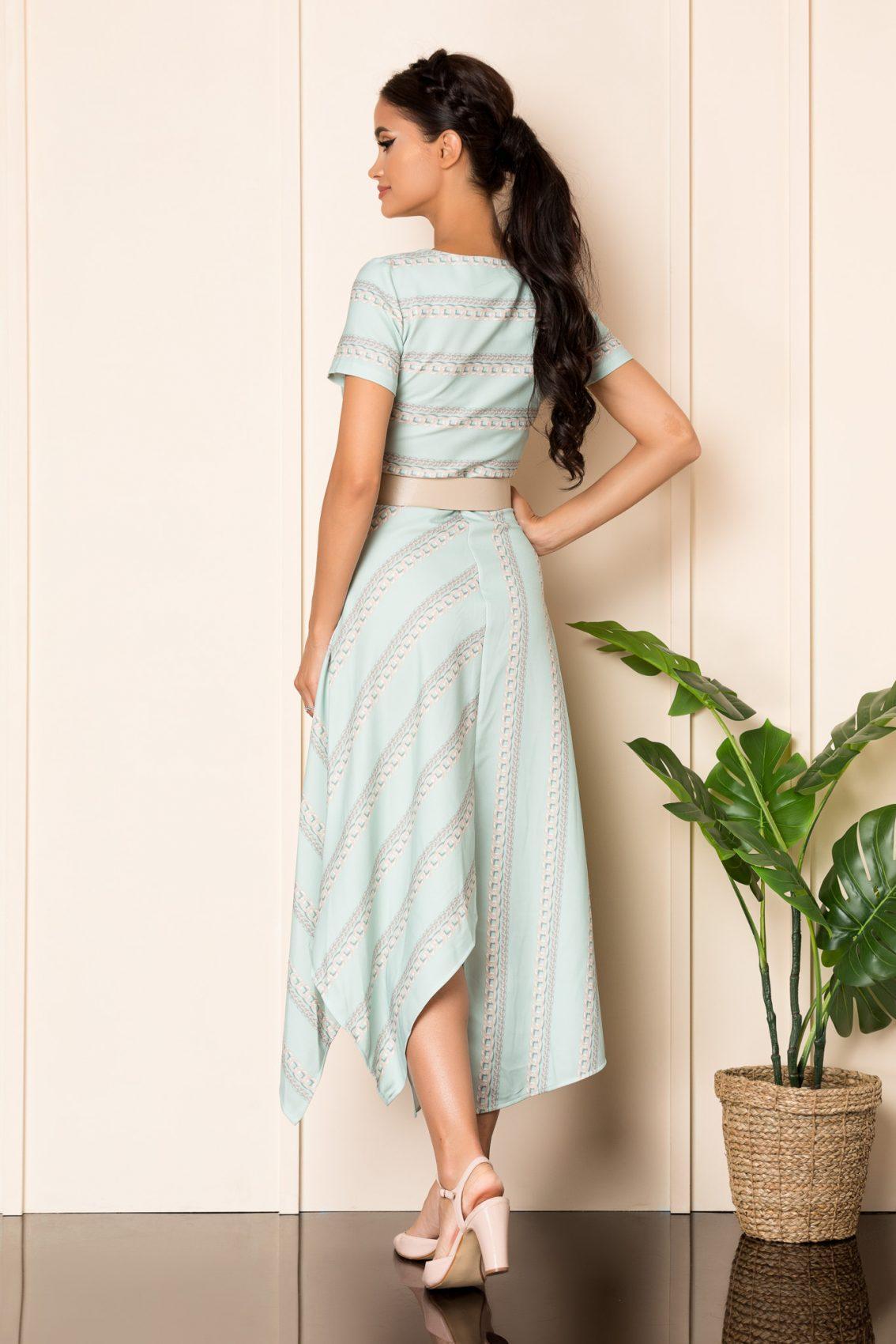 Μέντα Μίντι Ασύμμετρο Φόρεμα Με Ζώνη Paige A816 2