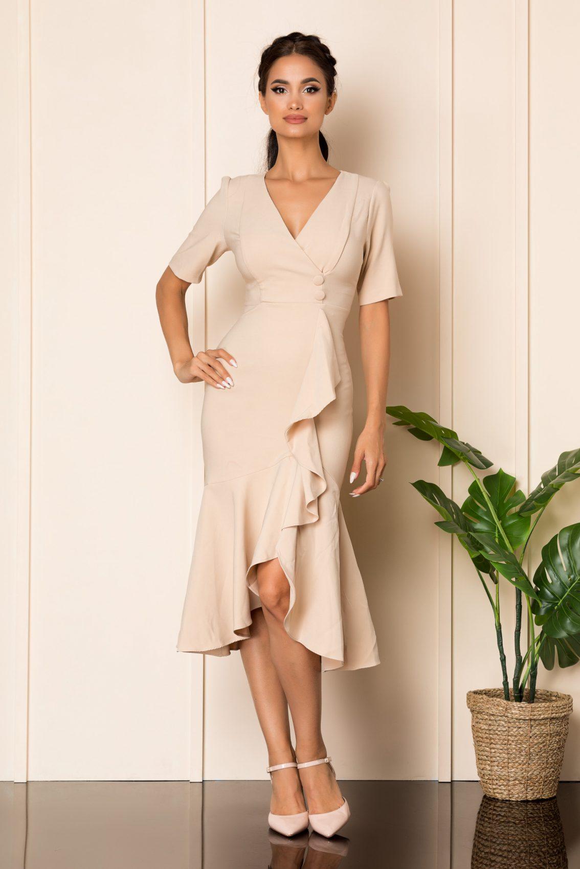 Μίντι Nude Φόρεμα Με Βολάν Malya A883 1