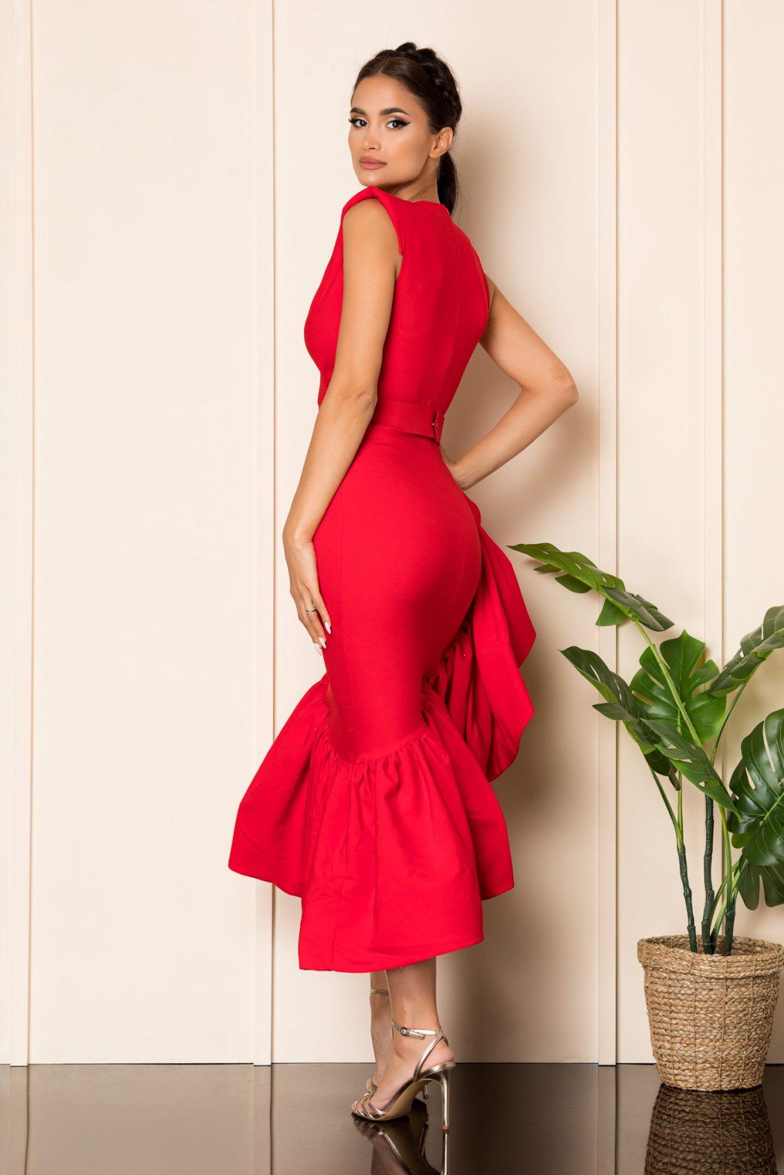 Κόκκινο Αμπιγιέ Φόρεμα Με Βολάν Kimberly A846 2