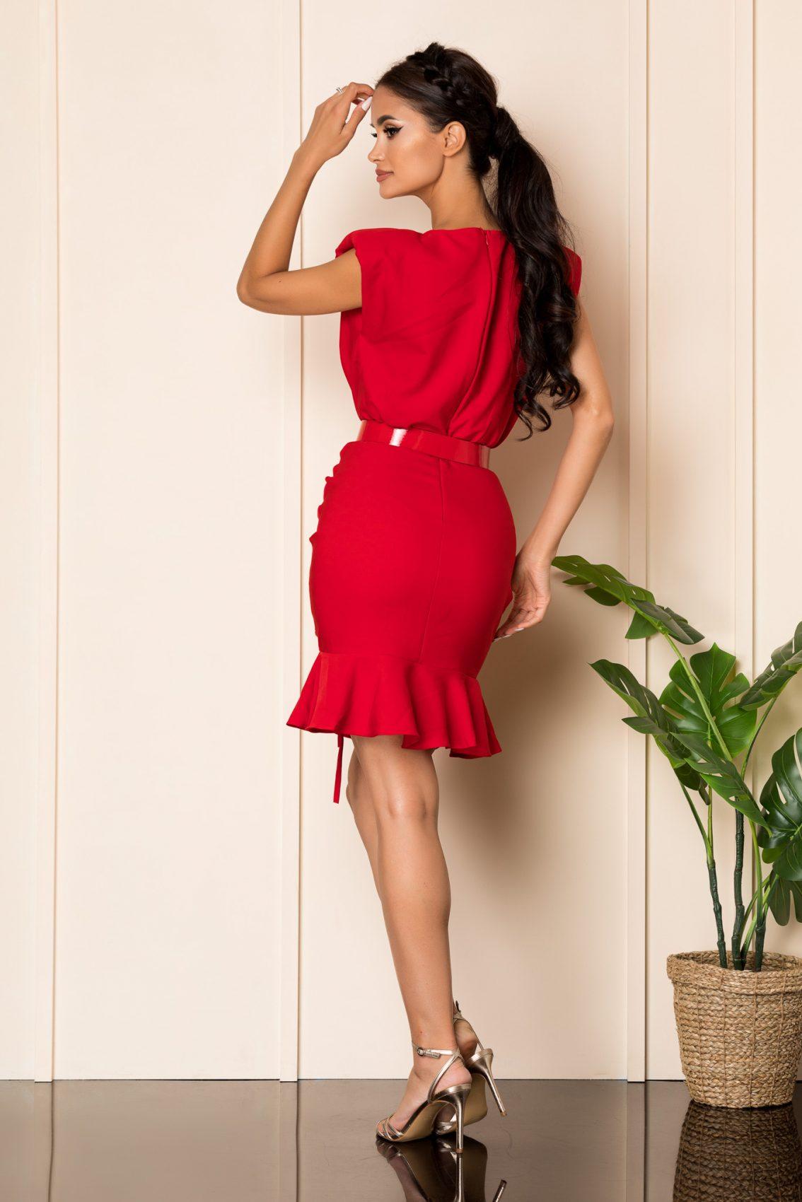 Κόκκινο Μίνι Φόρεμα Με Βάτες Karma A942 2