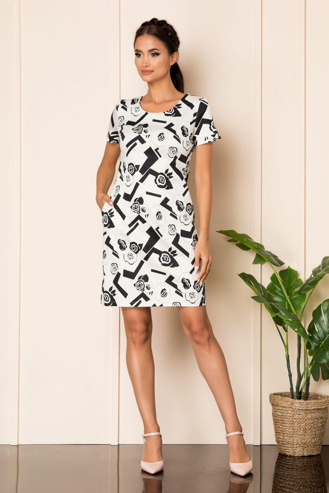Ασπρόμαυρο Φόρεμα Σε Γραμμή Άλφα Carly A804 1