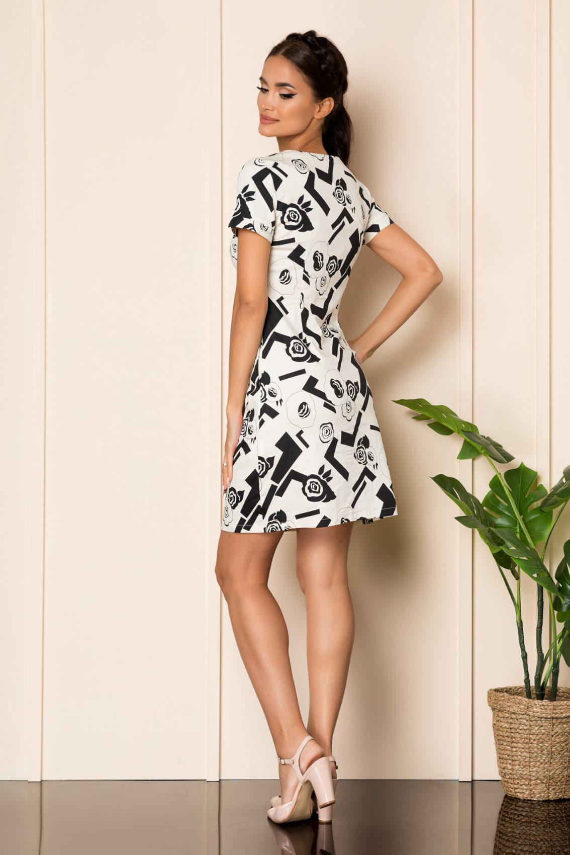 Ασπρόμαυρο Φόρεμα Σε Γραμμή Άλφα Carly A804 2