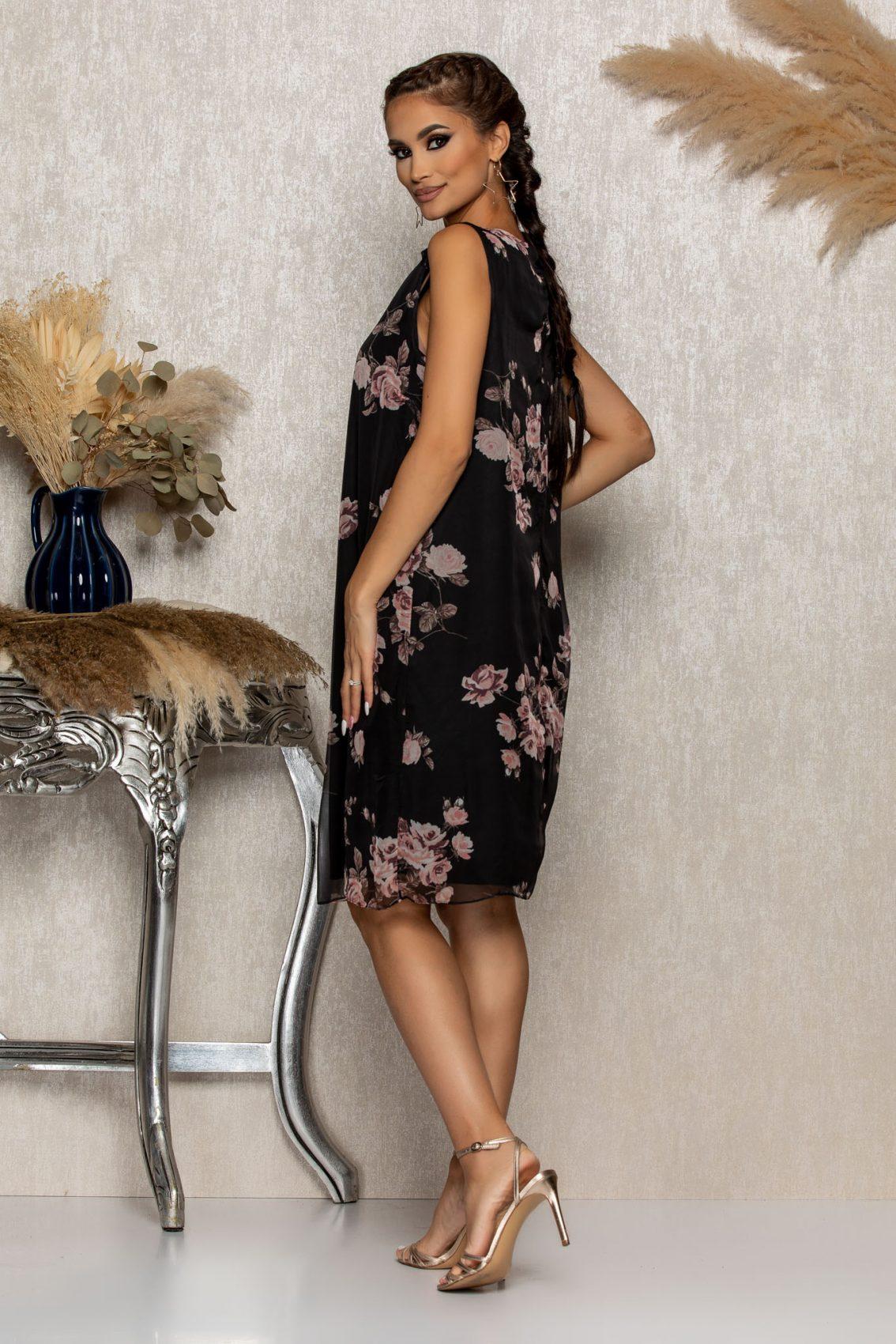 Μαύρο Φλοράλ Αμάνικο Φόρεμα Kayra B288 2