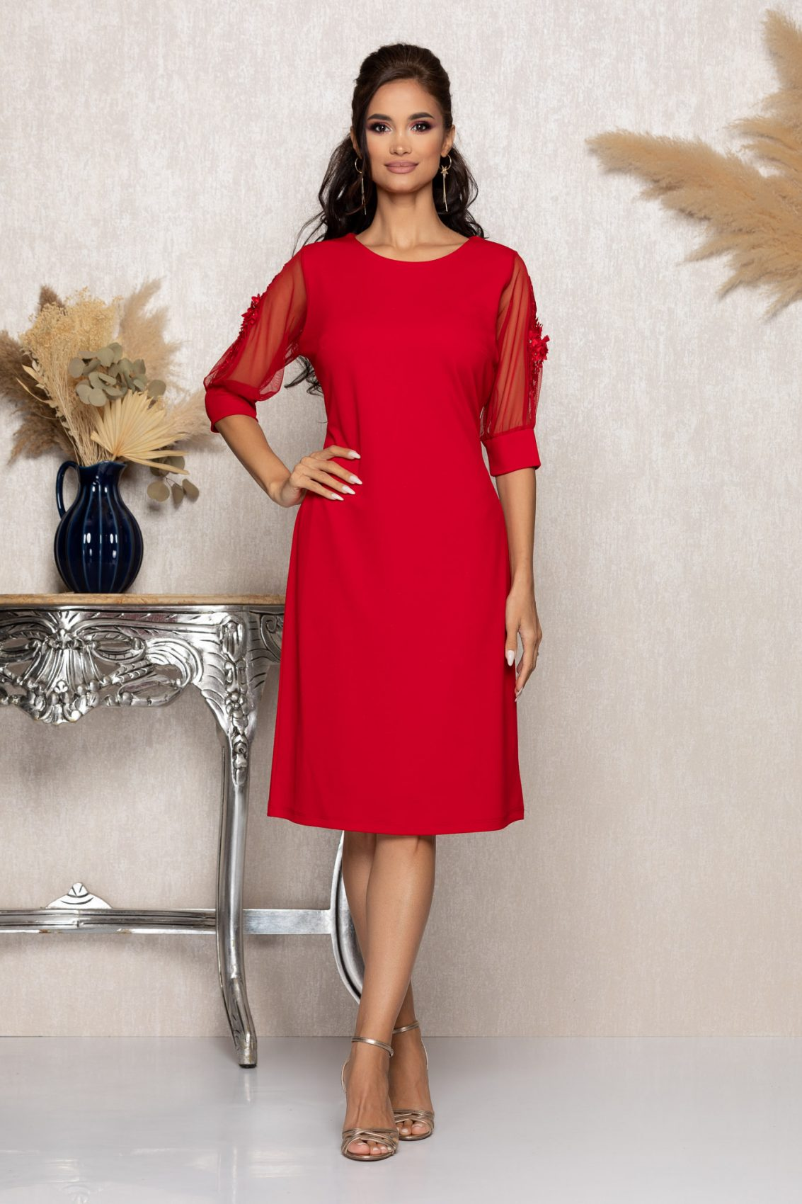 Κόκκινο Μίντι Αμπιγιέ Φόρεμα Ryna A959 1