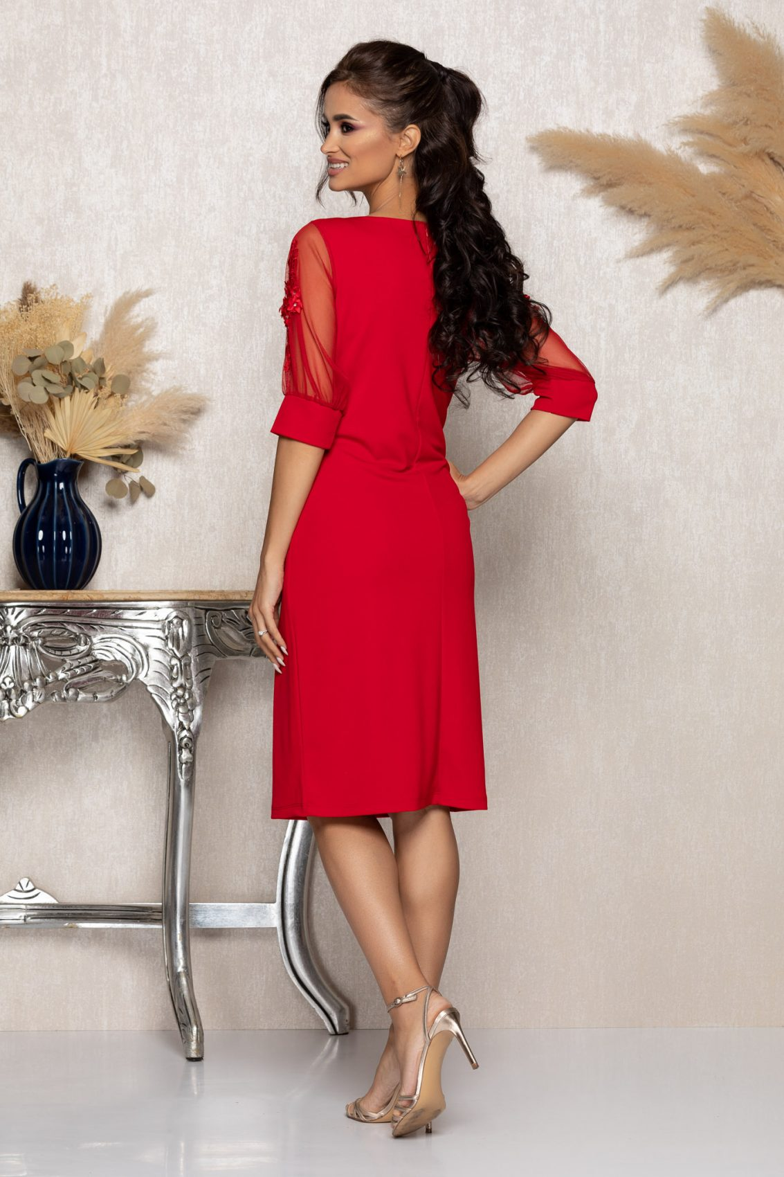 Κόκκινο Μίντι Αμπιγιέ Φόρεμα Ryna A959 2