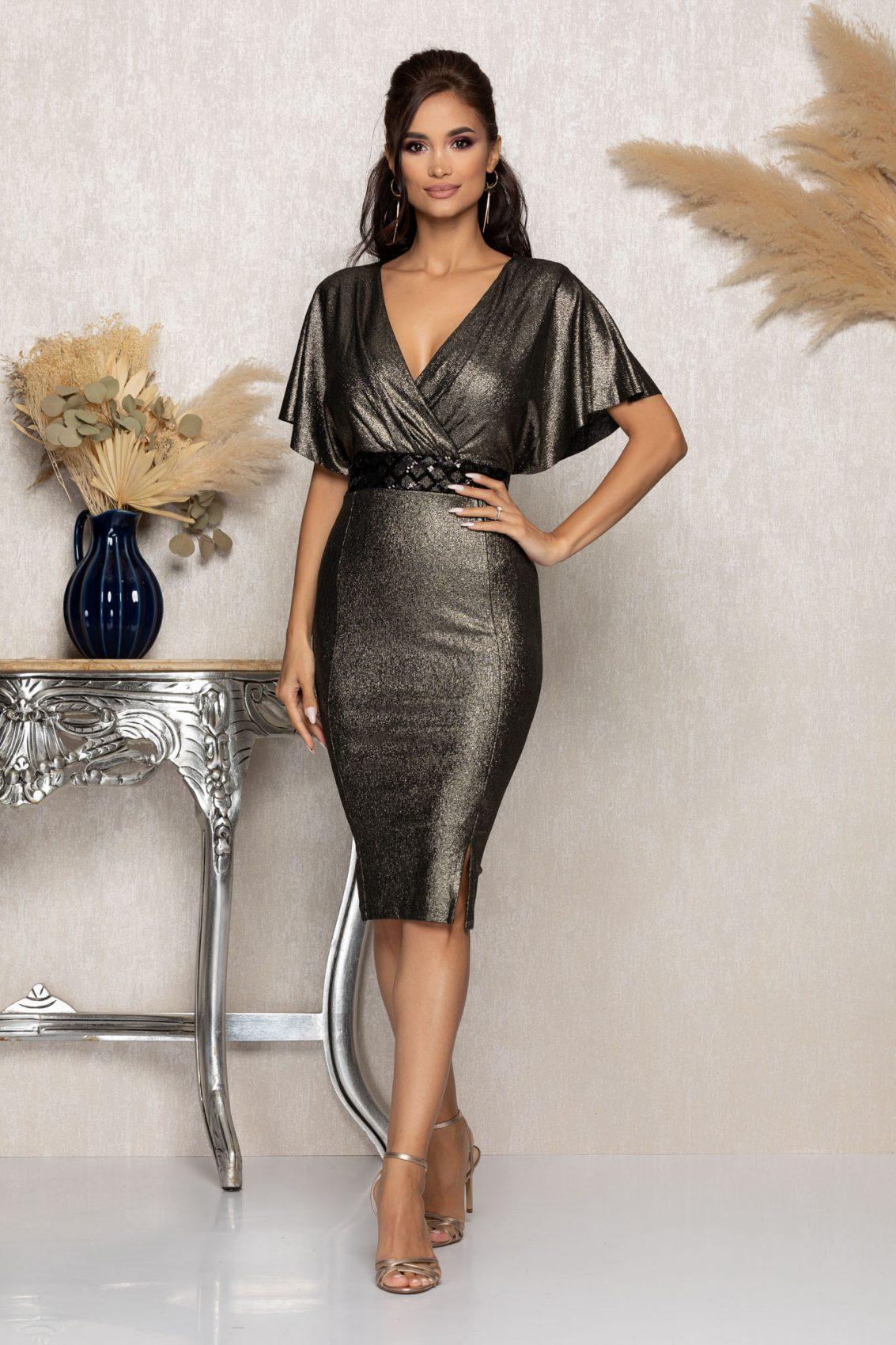 Χρυσό Κρουαζέ Μίντι Αμπιγιέ Φόρεμα Leona A991 1