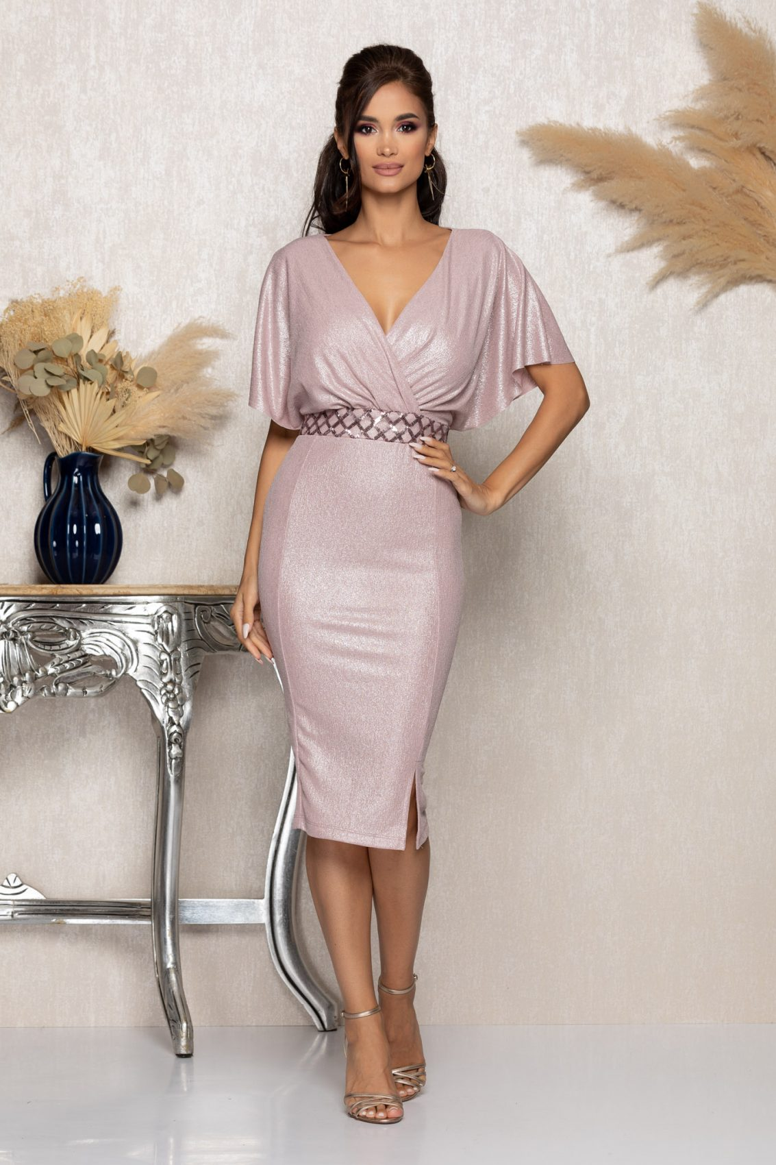 Ροζ Κρουαζέ Μίντι Αμπιγιέ Φόρεμα Leona A989 1