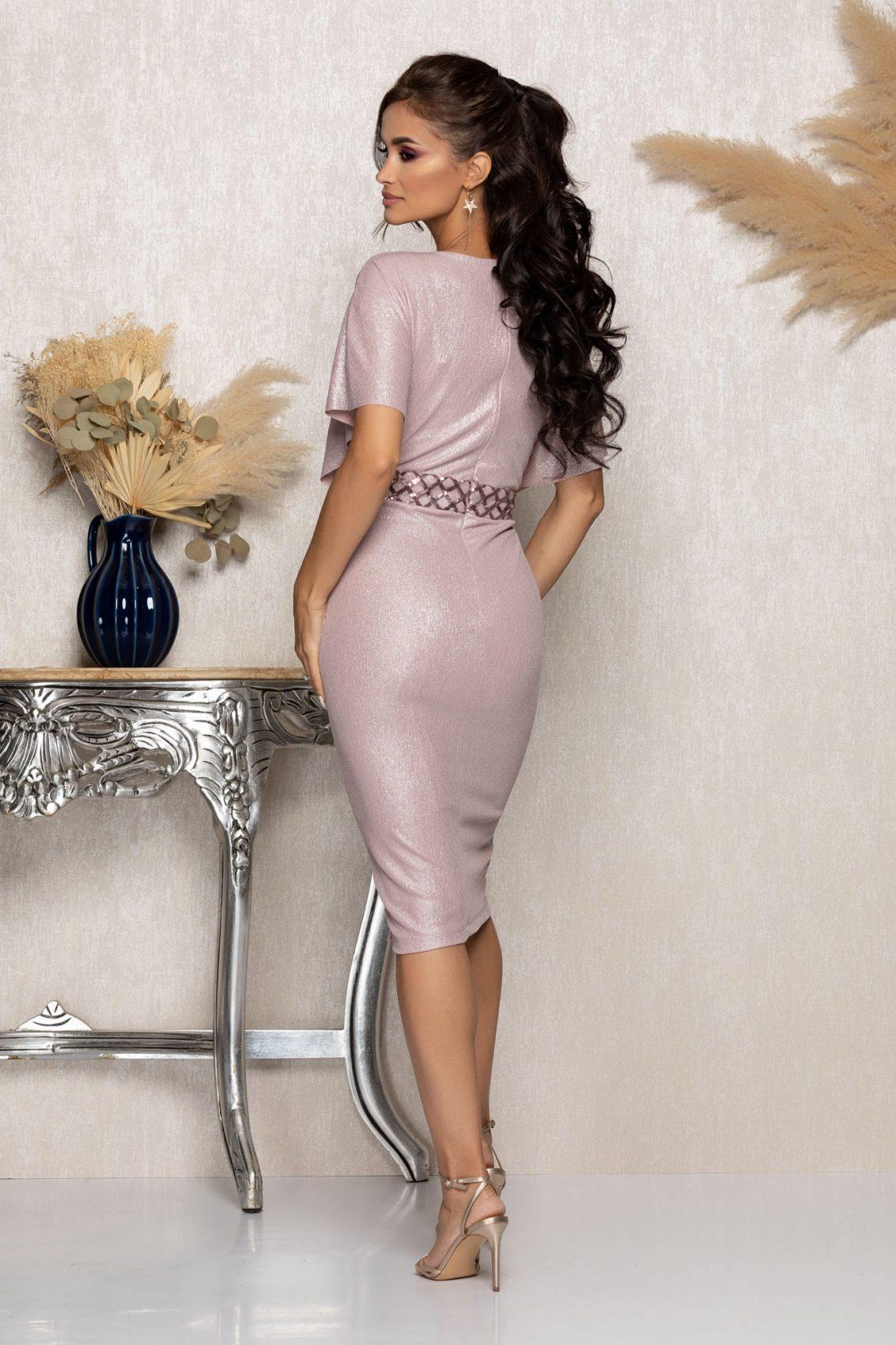 Ροζ Κρουαζέ Μίντι Αμπιγιέ Φόρεμα Leona A989 2