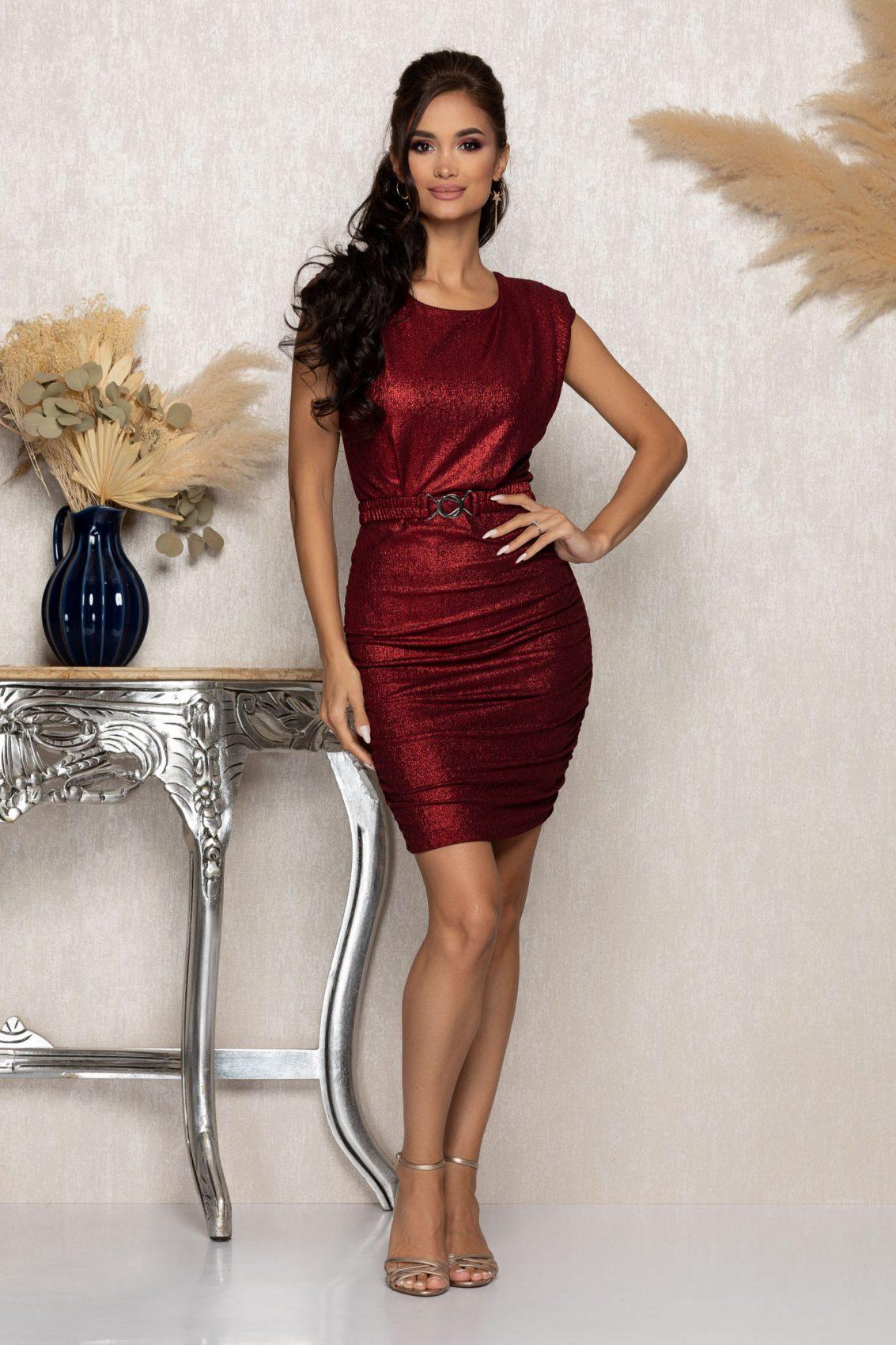Μπορντό Μίνι Αμπιγιέ Φόρεμα Famous A1039 1