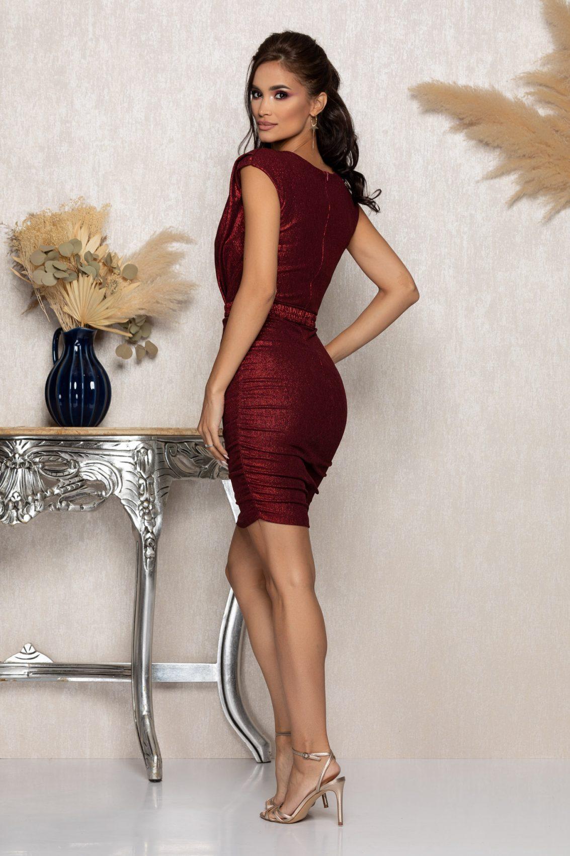 Μπορντό Μίνι Αμπιγιέ Φόρεμα Famous A1039 2