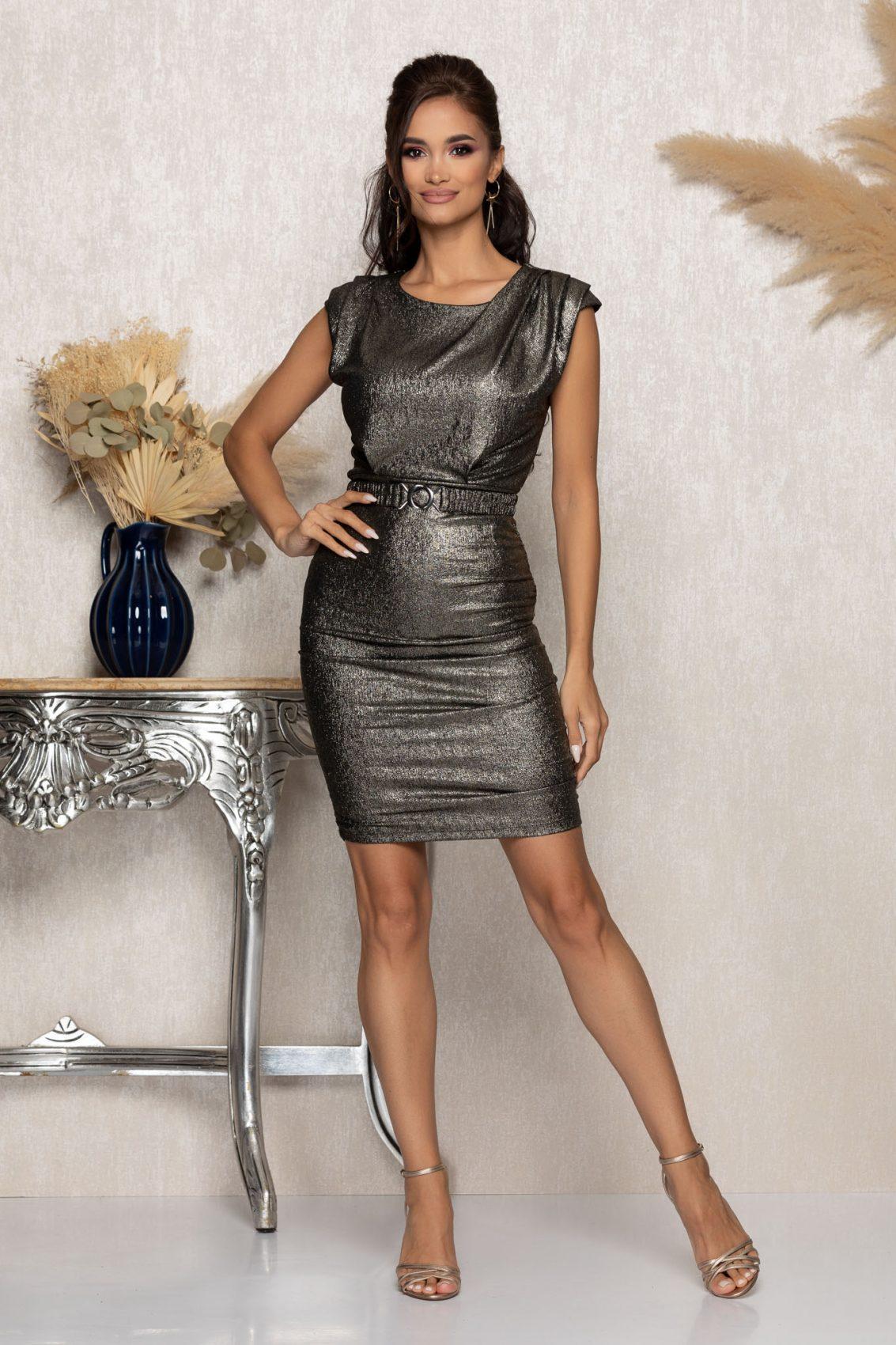 Χρυσό Μίνι Αμπιγιέ Φόρεμα Famous A1041 1