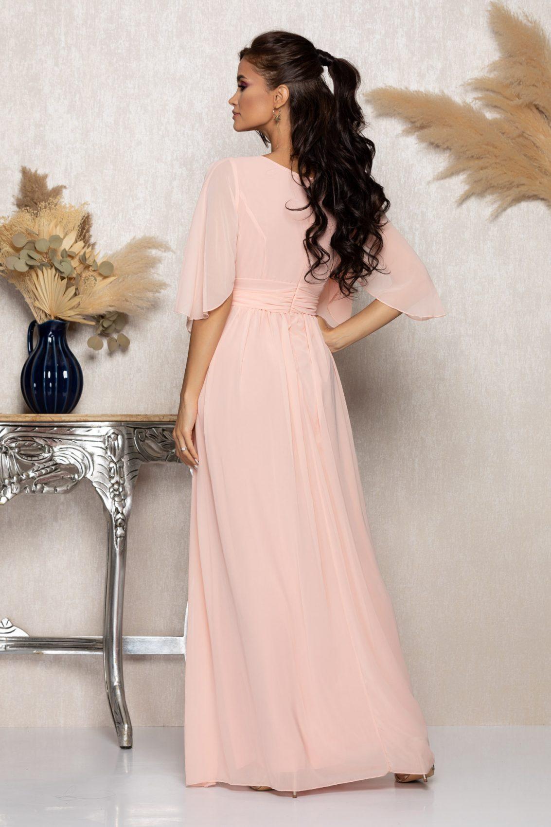 Ροζ Μάξι Αμπιγιέ Φόρεμα Izabella A997 2