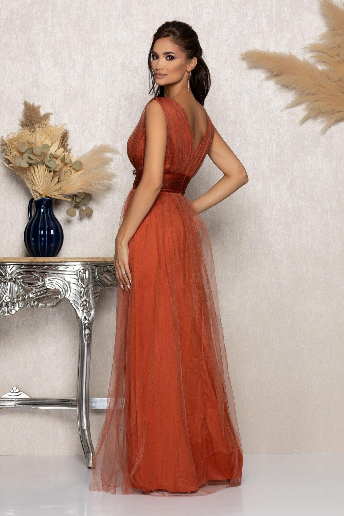 Κεραμιδί Μάξι Αμπιγιέ Φόρεμα Senzation A1027 2